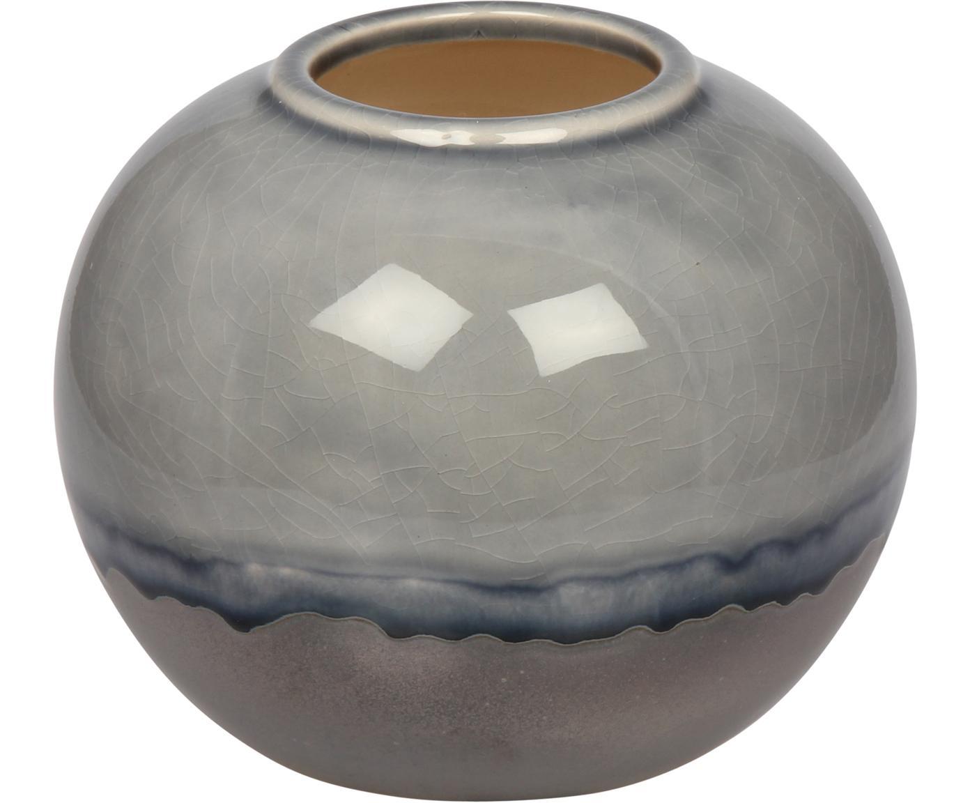Kleine Deko-Vase Rumble aus Steingut, Steingut, Grautöne, Blau, Ø 15 x H 13 cm