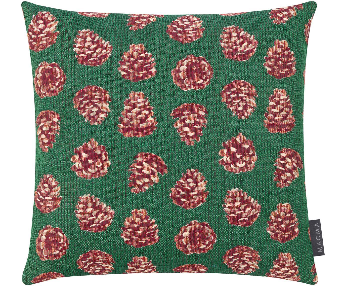 Kussenhoes Alvin met winterse motieven, Weeftechniek: jacquard, Groen, rood, beige, 40 x 40 cm