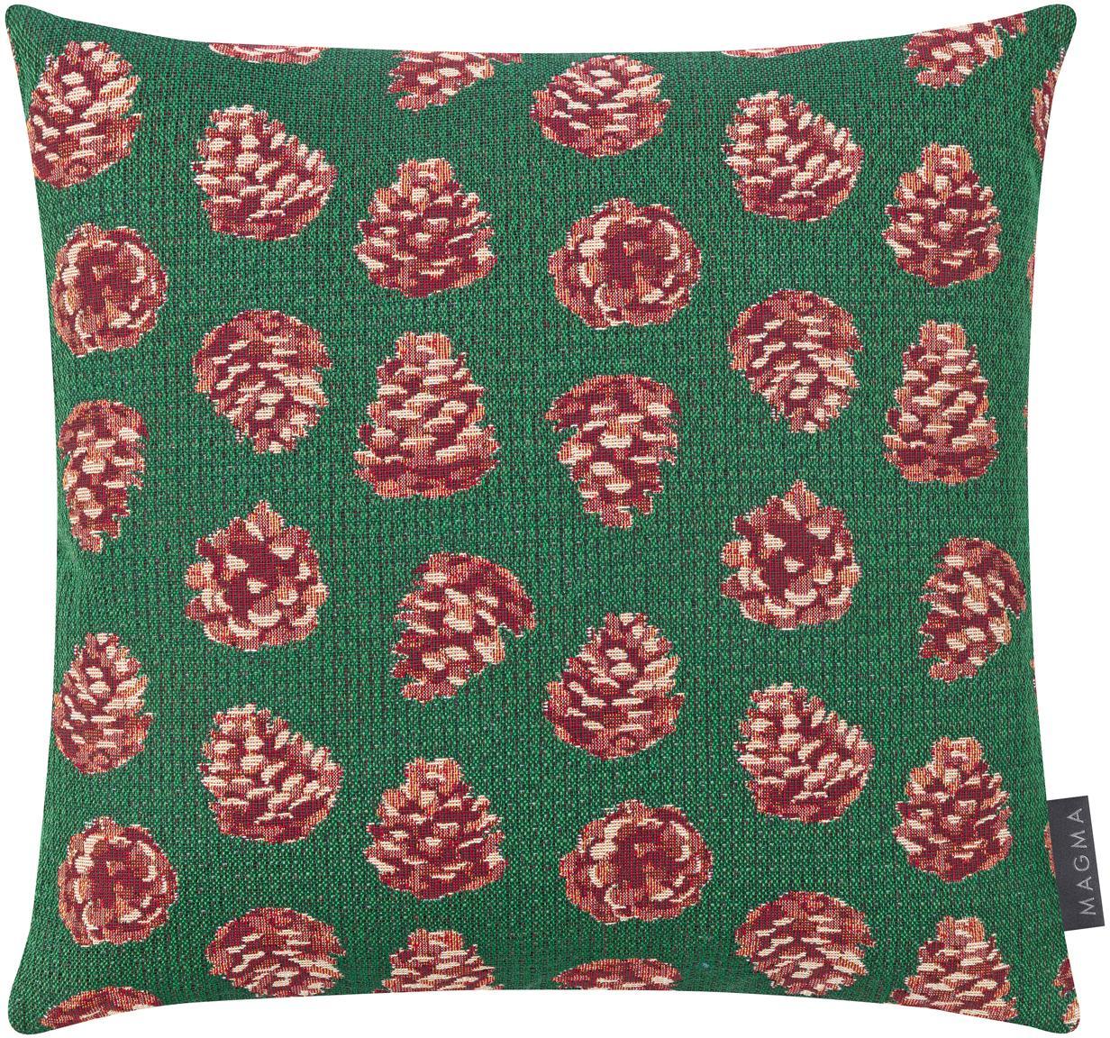 Kissenhülle Alvin mit winterlichen Motiven, Vorderseite: 55%Polyester, 45%Baumwo, Webart: Jacquard, Rückseite: Polyestersamt, Grün, Rot, Beige, 40 x 40 cm