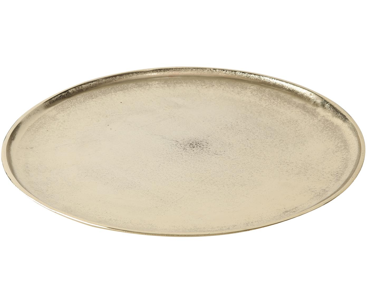 Deko-Tablett Phönix, Aluminium, Messingfarben, Ø 42 cm