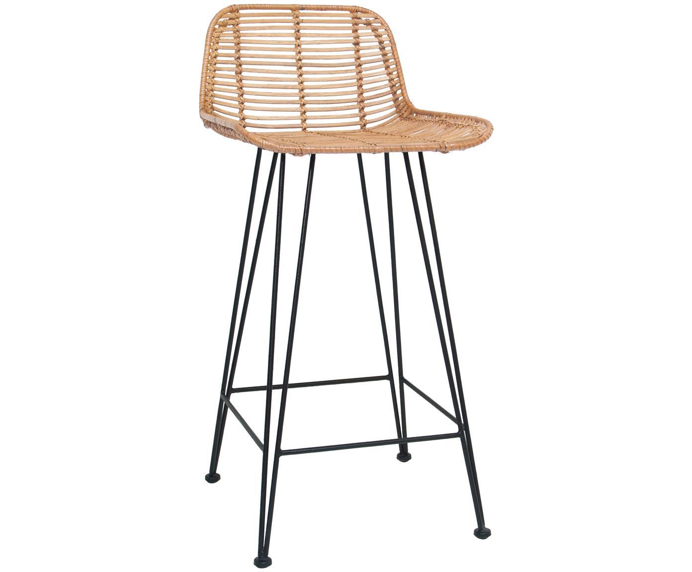 Sedia da bar in vimini Blind, Gambe: metallo verniciato a polv, Rattan, nero, L 42 x A 89 cm