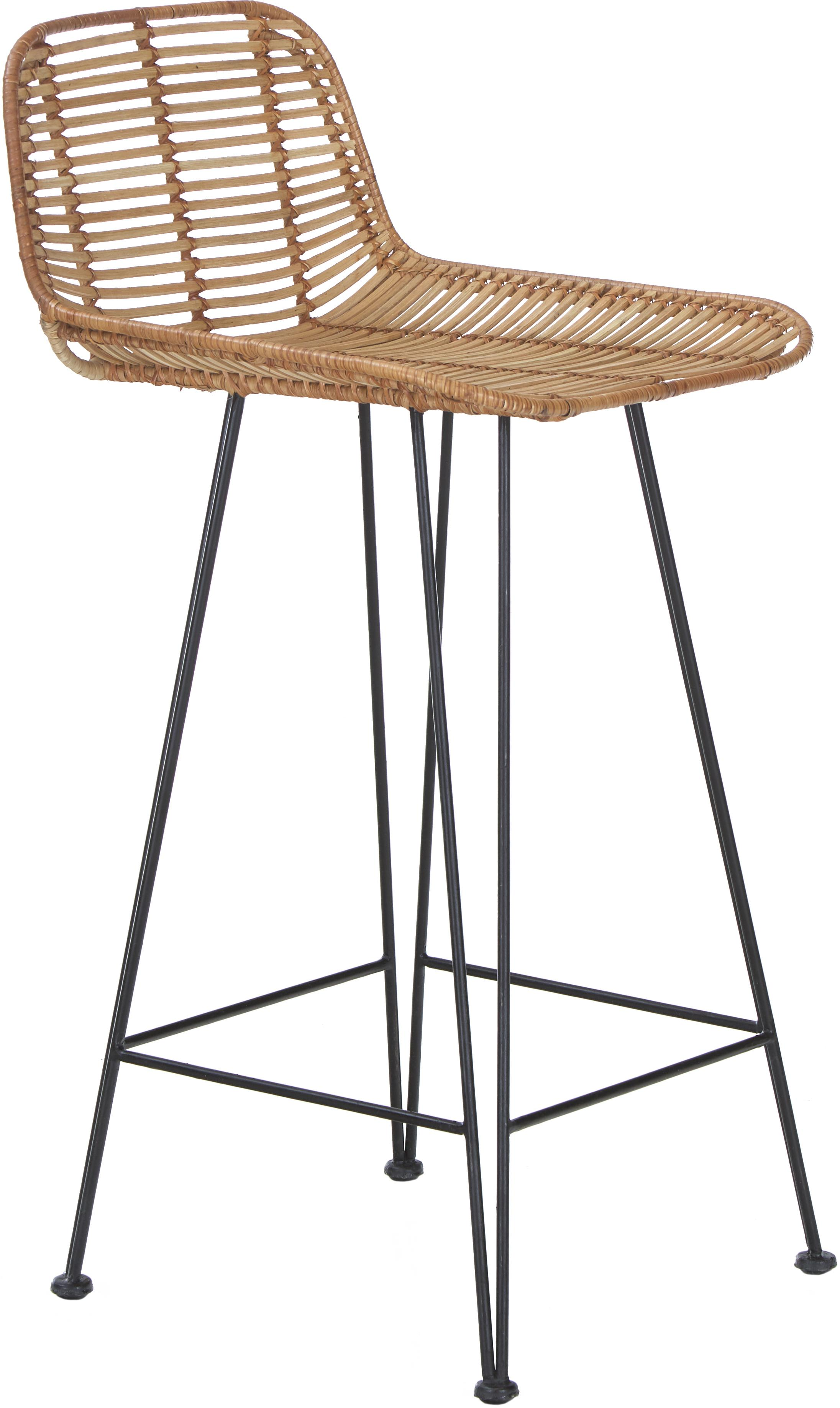 Rattan-Thekenstuhl Blind, Beine: Metall, pulverbeschichtet, Sitzschale: Rattan, Rattan, Schwarz, 42 x 89 cm