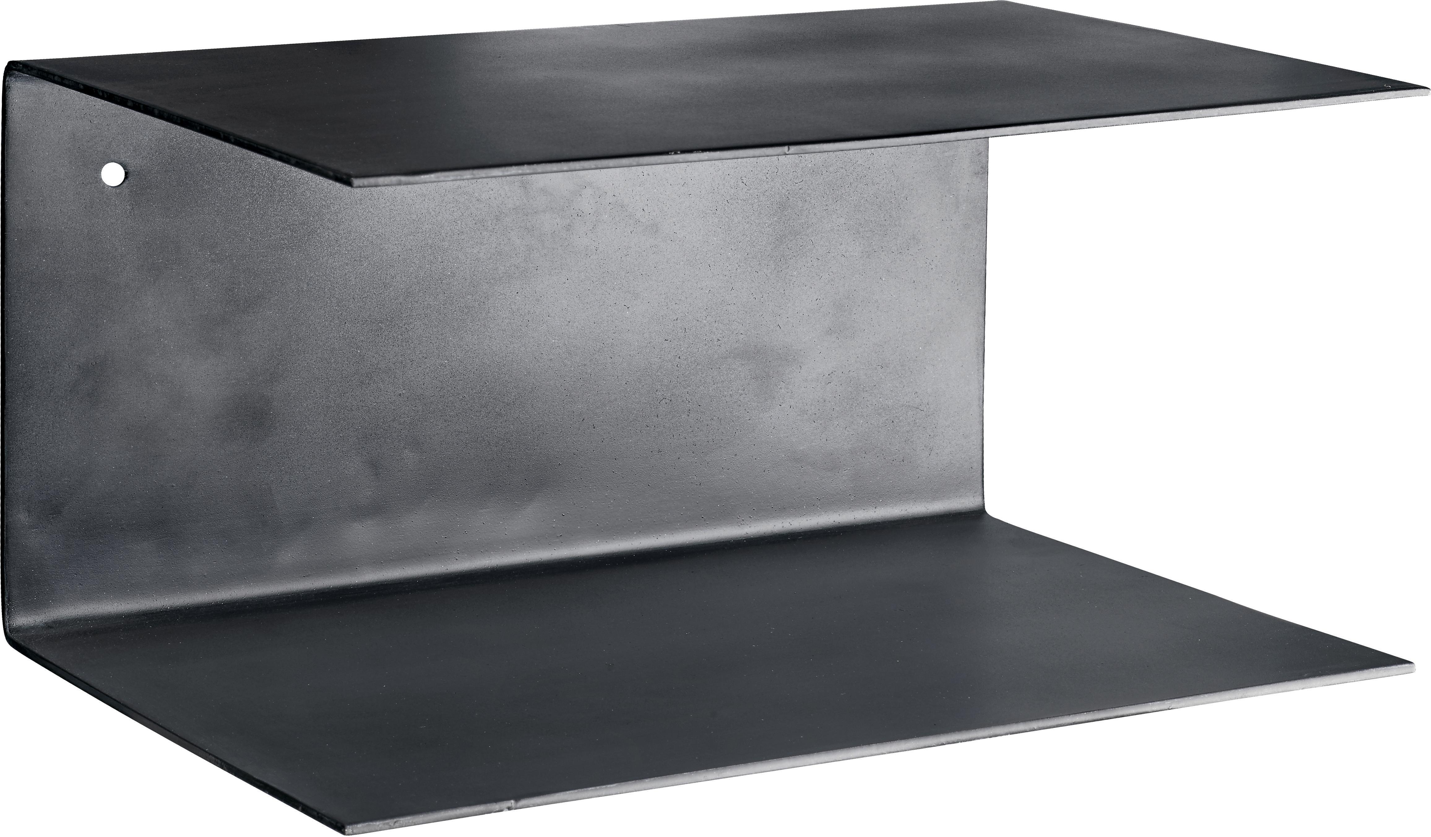 Mensola a muro in metallo Phantom 2 pz, Metallo verniciato, Nero, Larg. 30 x Alt. 15 cm
