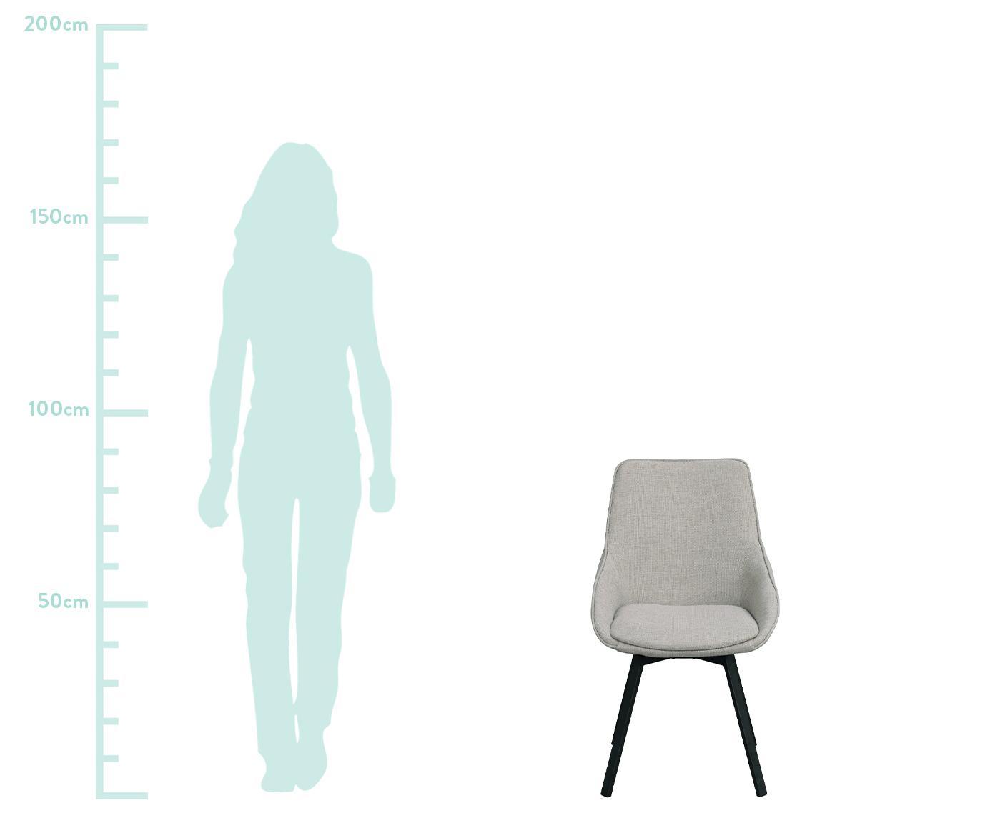 Tapicerowane krzesło obrotowe Alison, Tapicerka: poliester 50 000 cykli w , Nogi: metal malowany proszkowo, Jasny szary, czarny, S 51 x G 57 cm