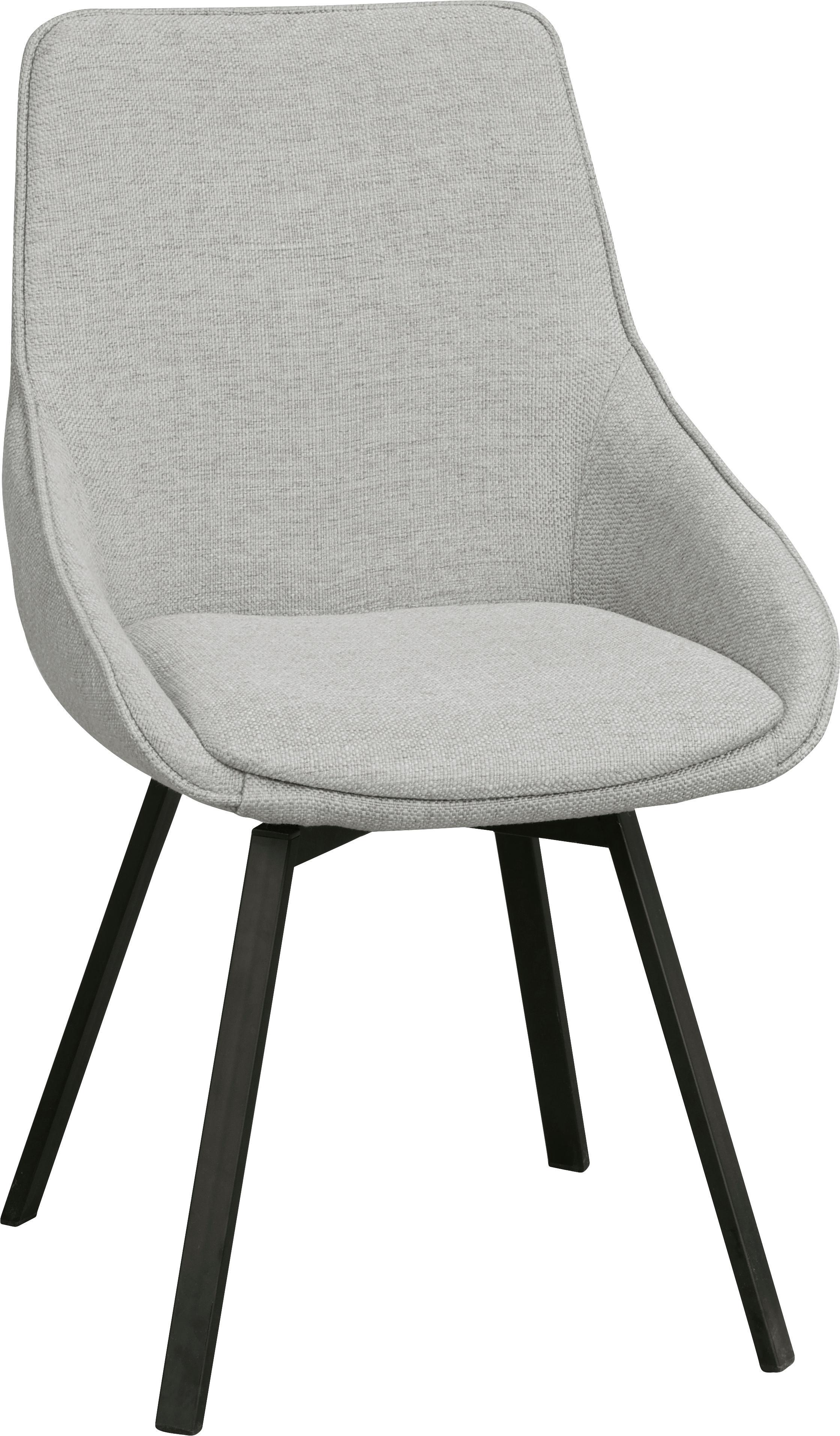 Gestoffeerde bureaustoel Alison, Bekleding: polyester, Poten: gepoedercoat metaal, Lichtgrijs, zwart, B 51 x D 57 cm