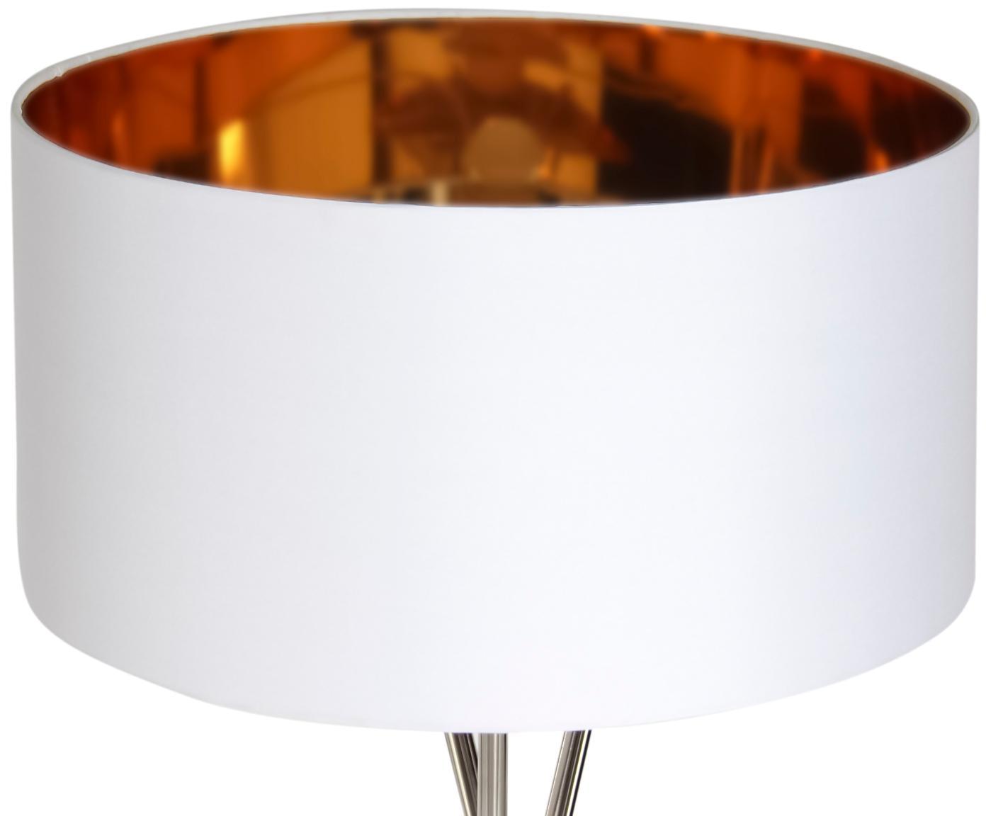 Lampa podłogowa Giovanna, Stelaż: stal chromowana, Stelaż: chrom Klosz: na zewnątrz: biały Wewnątrz: odcienie złotego, Ø 45 x W 154 cm