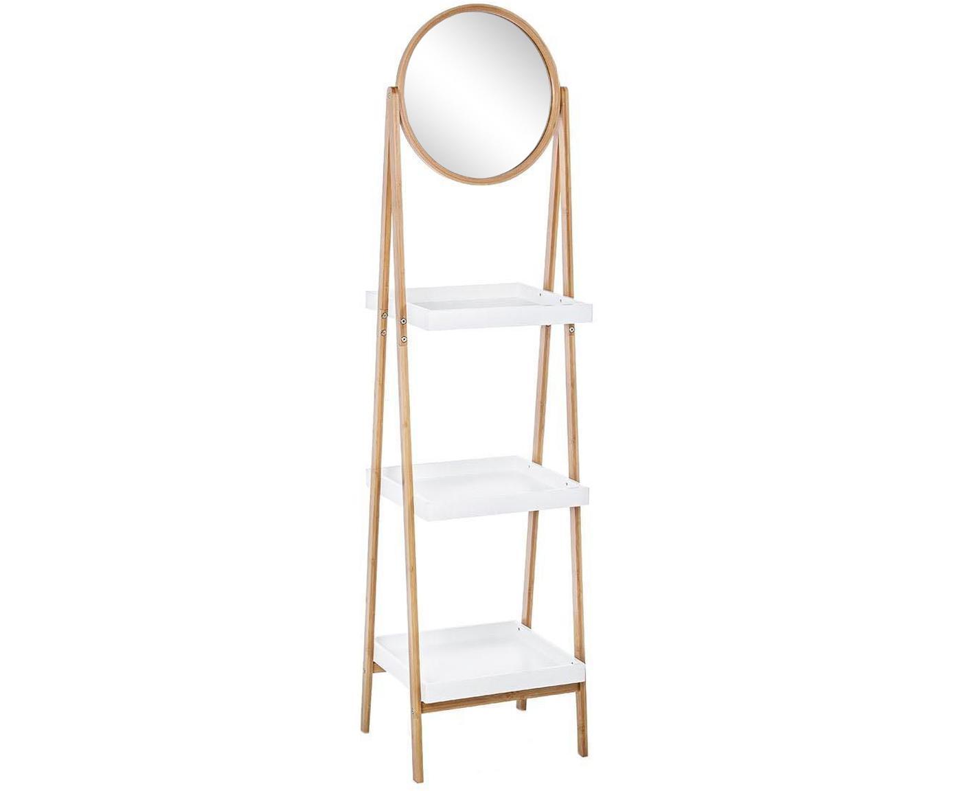 Estantería escalera Audrey, con espejo, Estructura: madera de bambú, Estante: tablero de fibras de dens, Beige, blanco, An 40 x Al 163 cm
