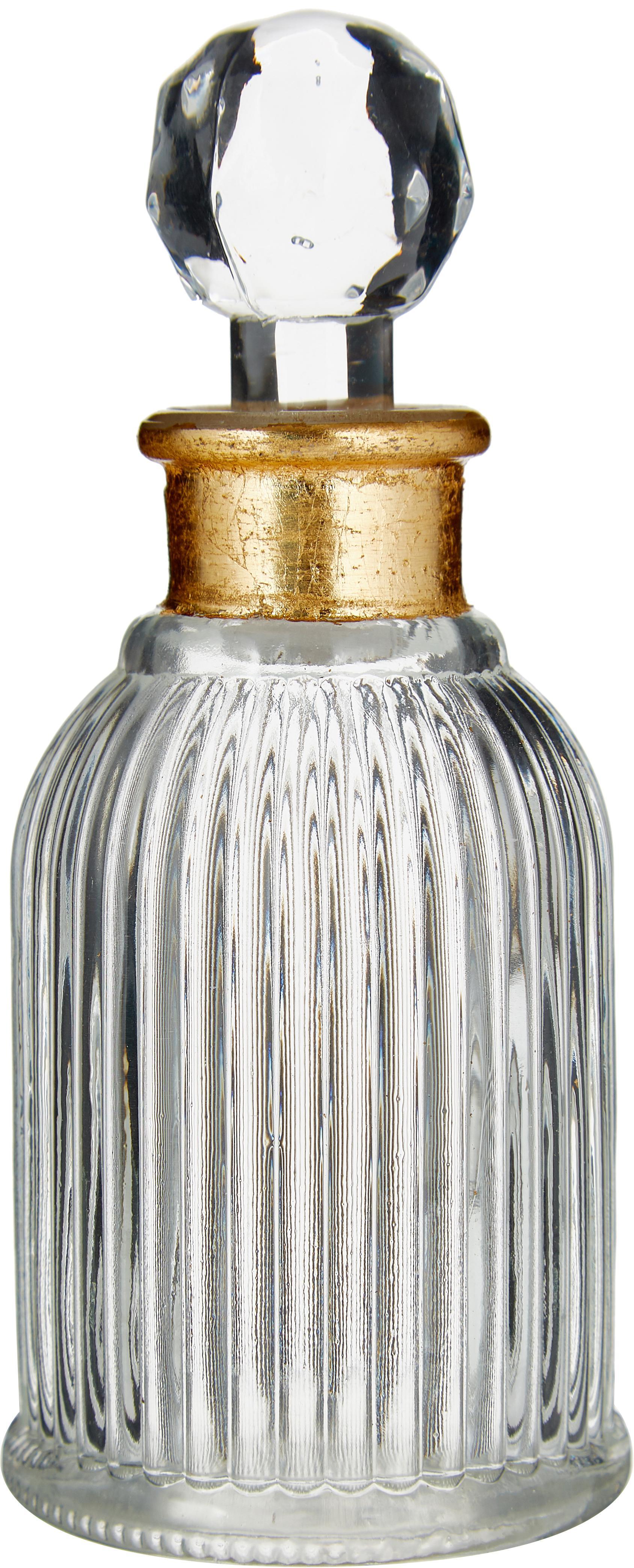 Bottiglia decorativa Rotira, Vetro verniciato, Trasparente, dorato, Ø 6 x Alt. 14 cm