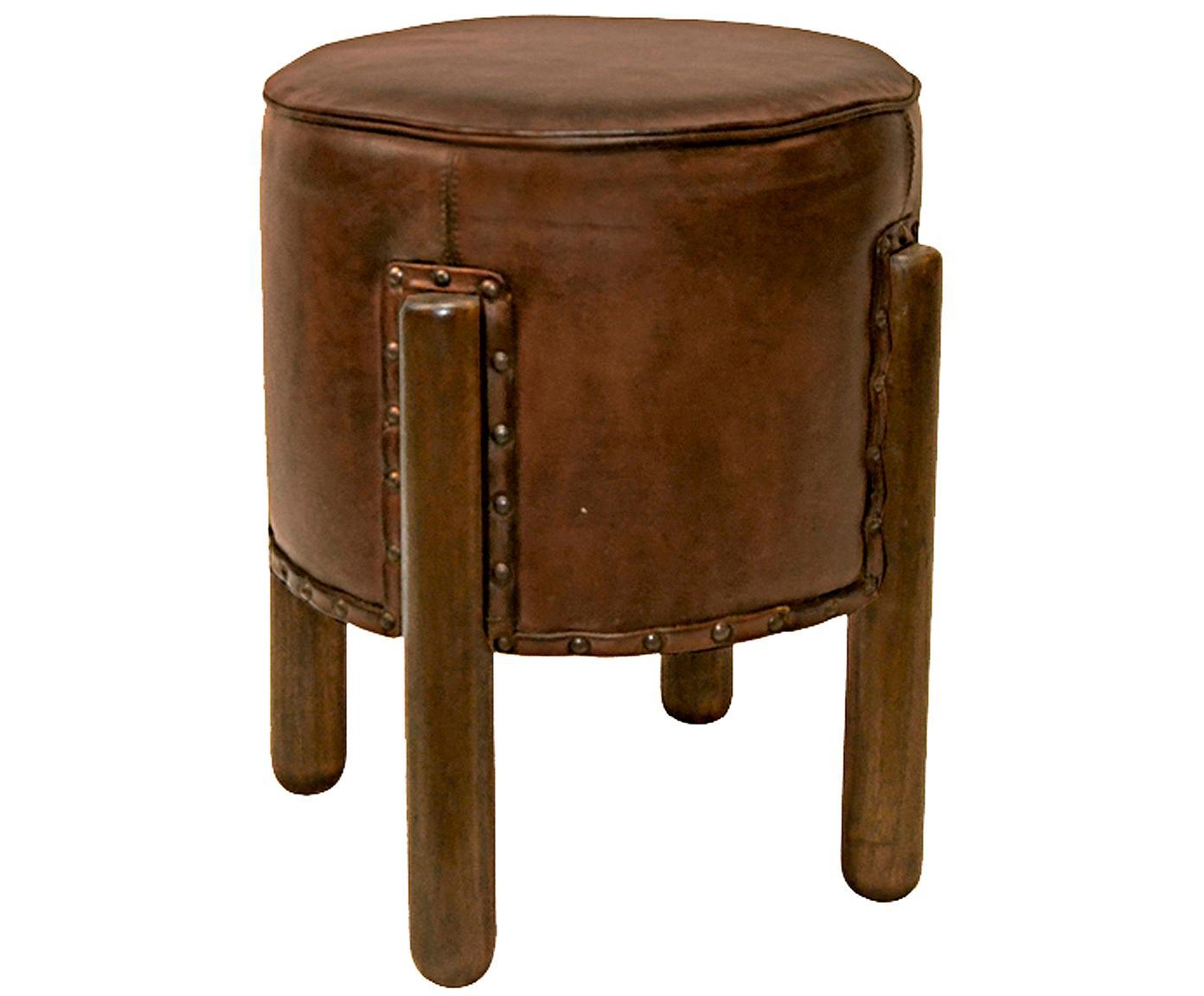 Taburete de piel Trenza, Tapizado: piel, Patas: madera de caoba, Marrón, Ø 38 x Al 50 cm