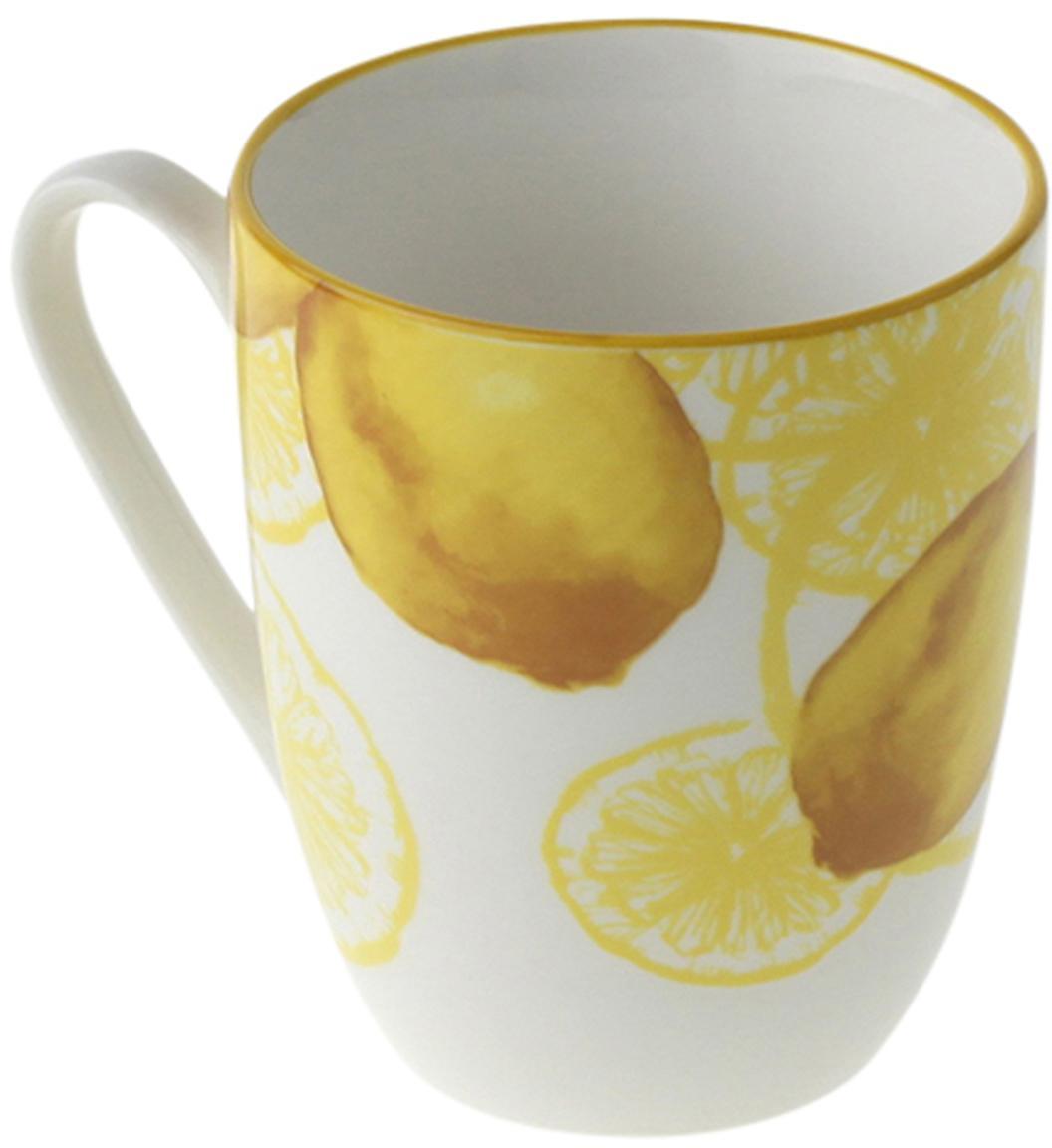 Tassen Lemon mit Zitronen-Motiv, 2 Stück, Porzellan, Weiß, Gelb, Ø 9 x H 10 cm
