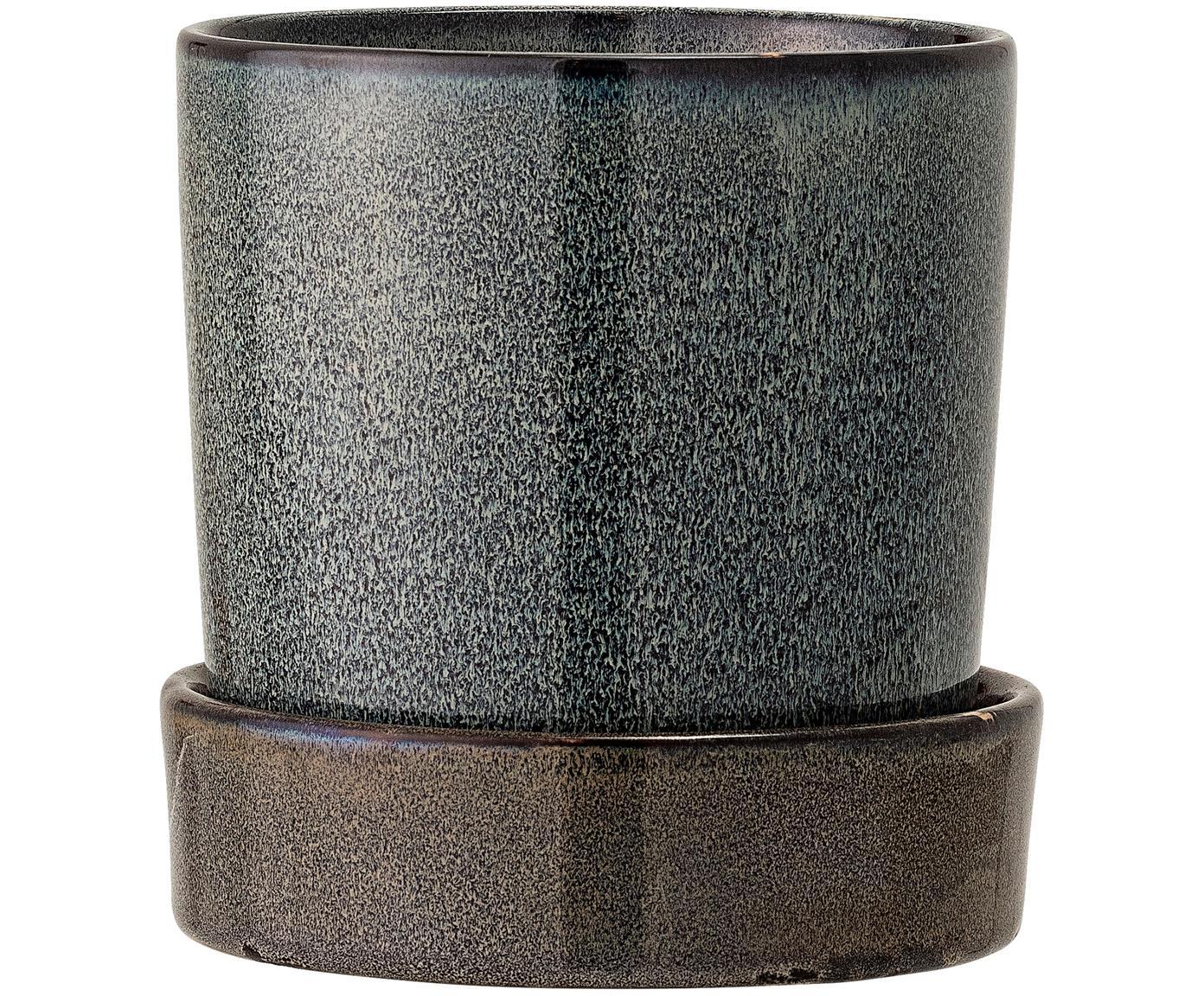 Ręcznie wykonana doniczka Chiara, Kamionka, Brązowy, antracytowy, Ø 14 x W 14 cm