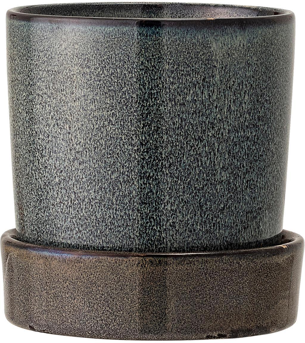 Kleiner handgefertigter Übertopf Chiara aus Steingut, Steingut, Braun, Anthrazit, Ø 14 x H 14 cm