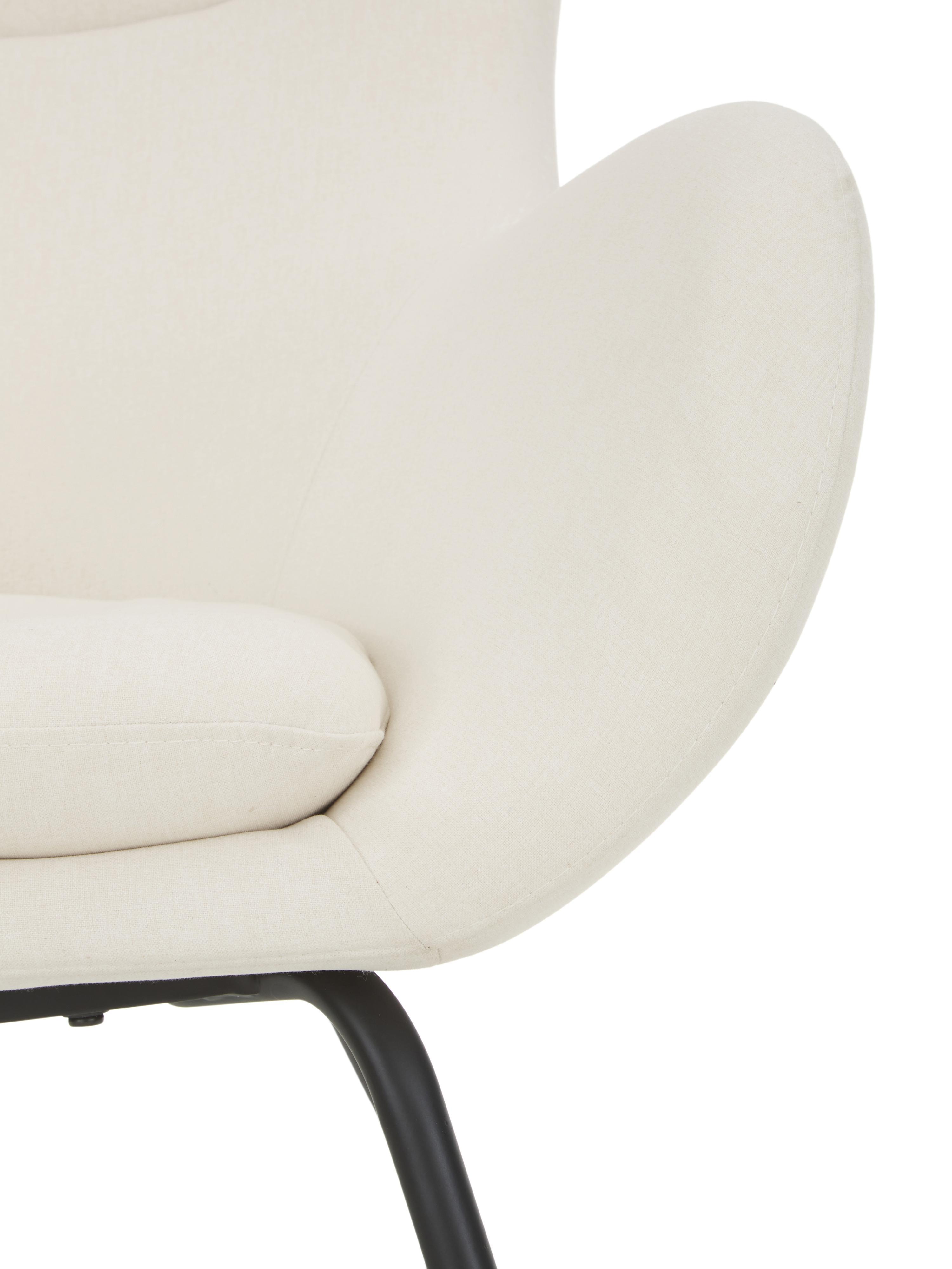Ohrensessel Wing in Cremeweiß, Bezug: Polyester Der hochwertige, Füße: Metall, pulverbeschichtet, Webstoff Cremeweiß, B 75 x T 85 cm
