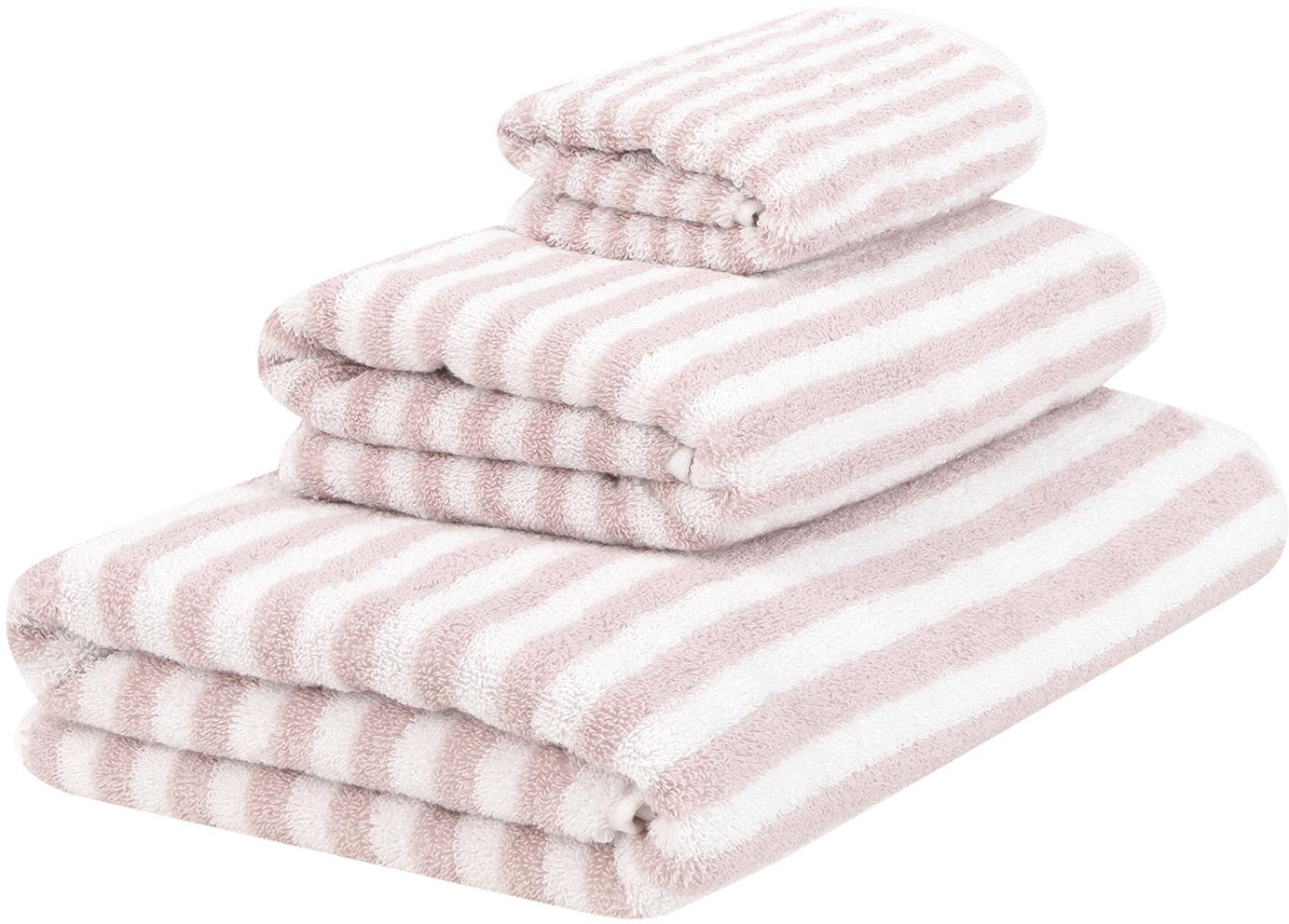Set 3 asciugamani reversibili Viola, Rosa, bianco crema, Set in varie misure