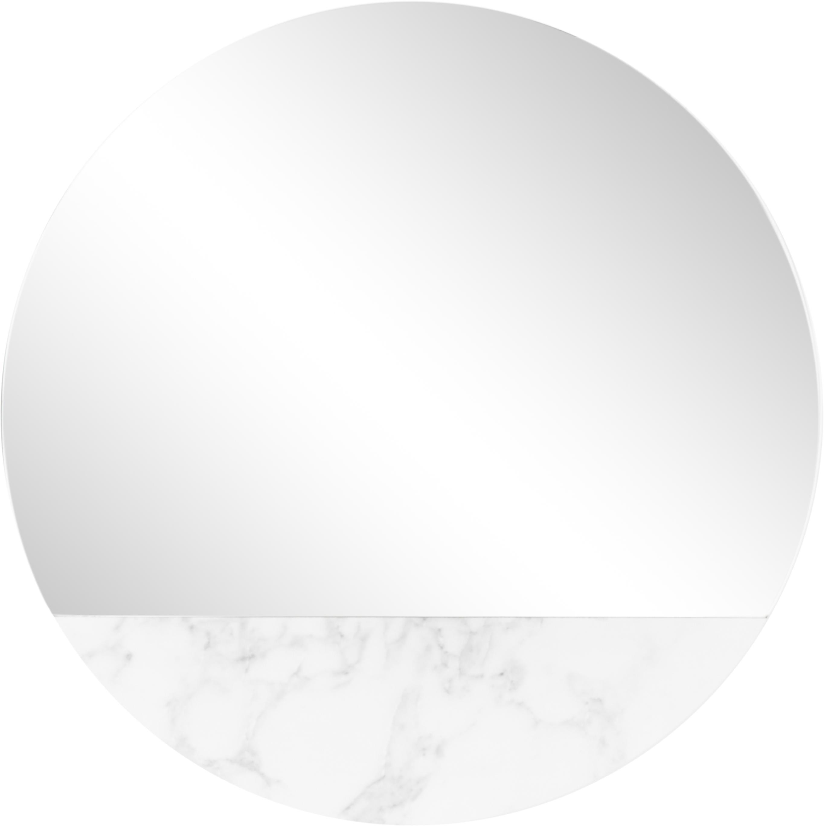 Runder Wandspiegel Stockholm in Marmoroptik, Rahmen: Melamin, Spiegelfläche: Spiegelglas, Rückseite: Mitteldichte Holzfaserpla, Weiß marmoriert, Ø 40 cm