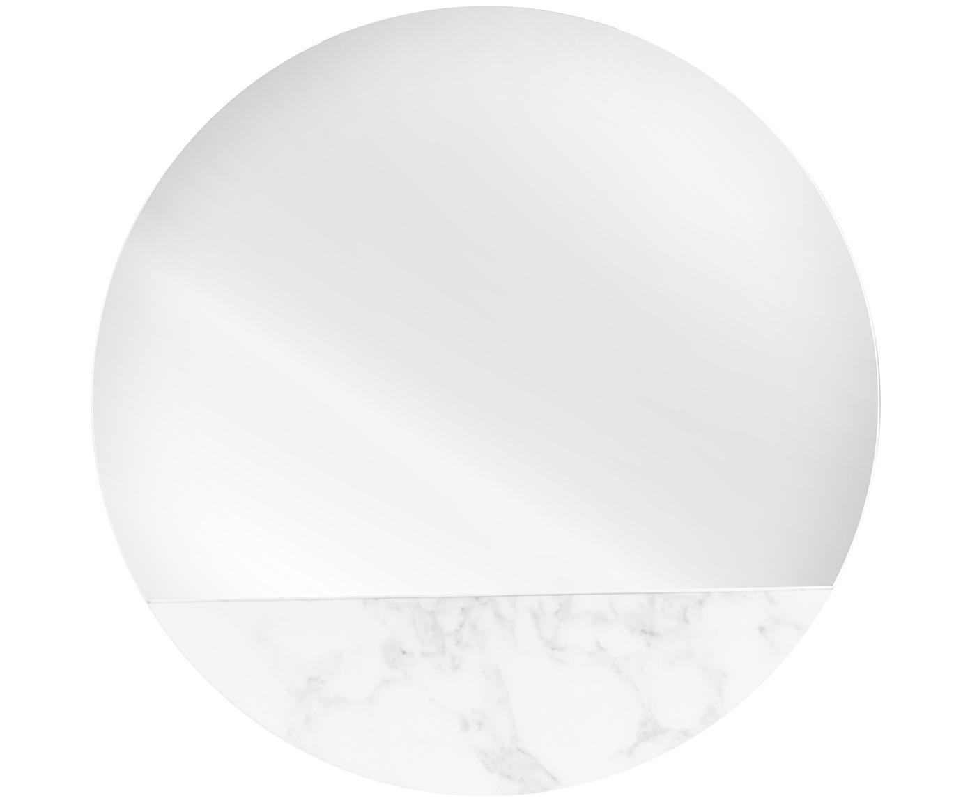 Espejo de pared redondo Stockholm, Espejo: cristal, Reverso: tablero de fibra de densi, Blanco veteado, Ø 40 cm