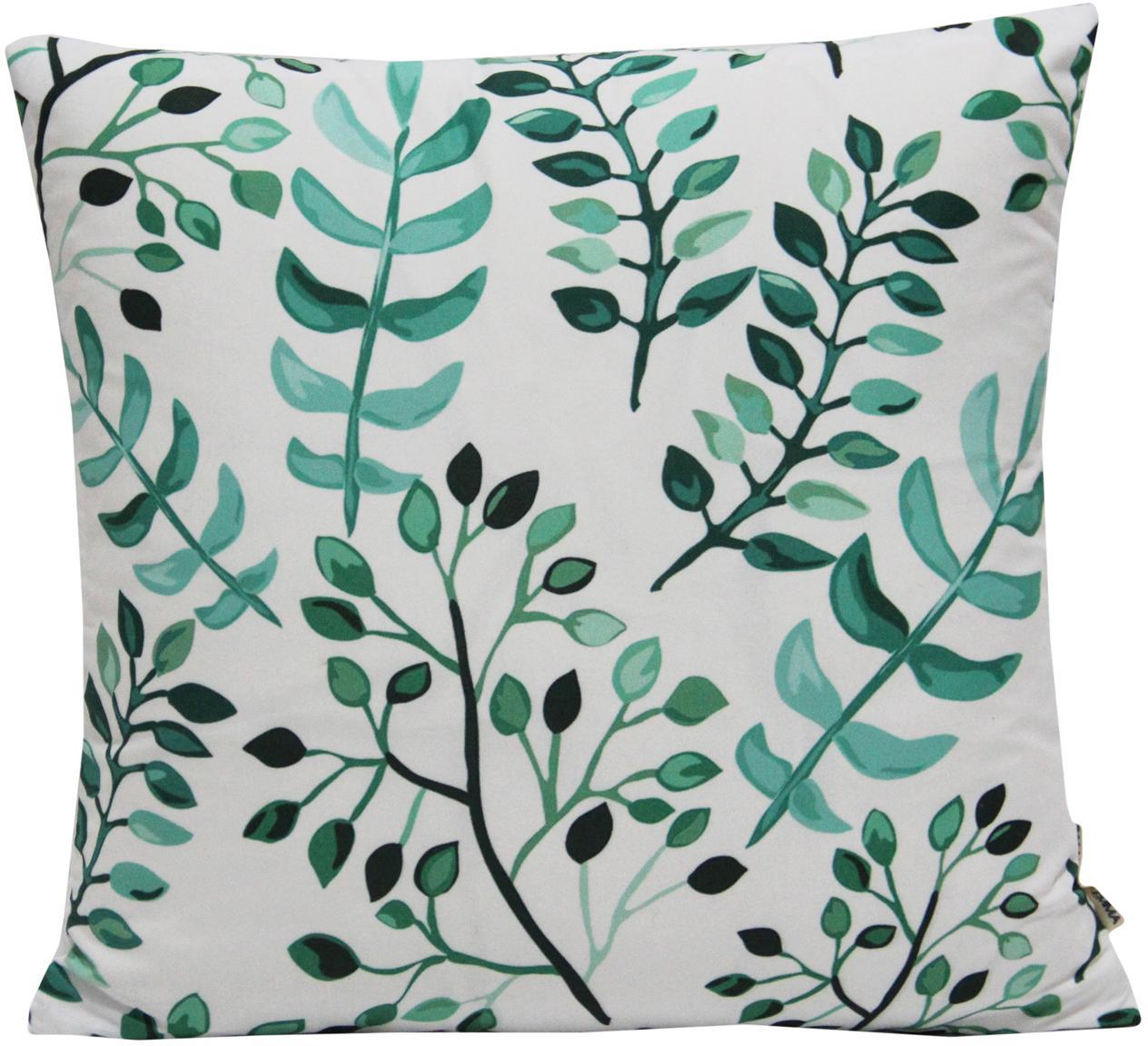 Funda de cojín Leaves, Poliéster, Blanco, tonos verdes, An 40 x L 40 cm