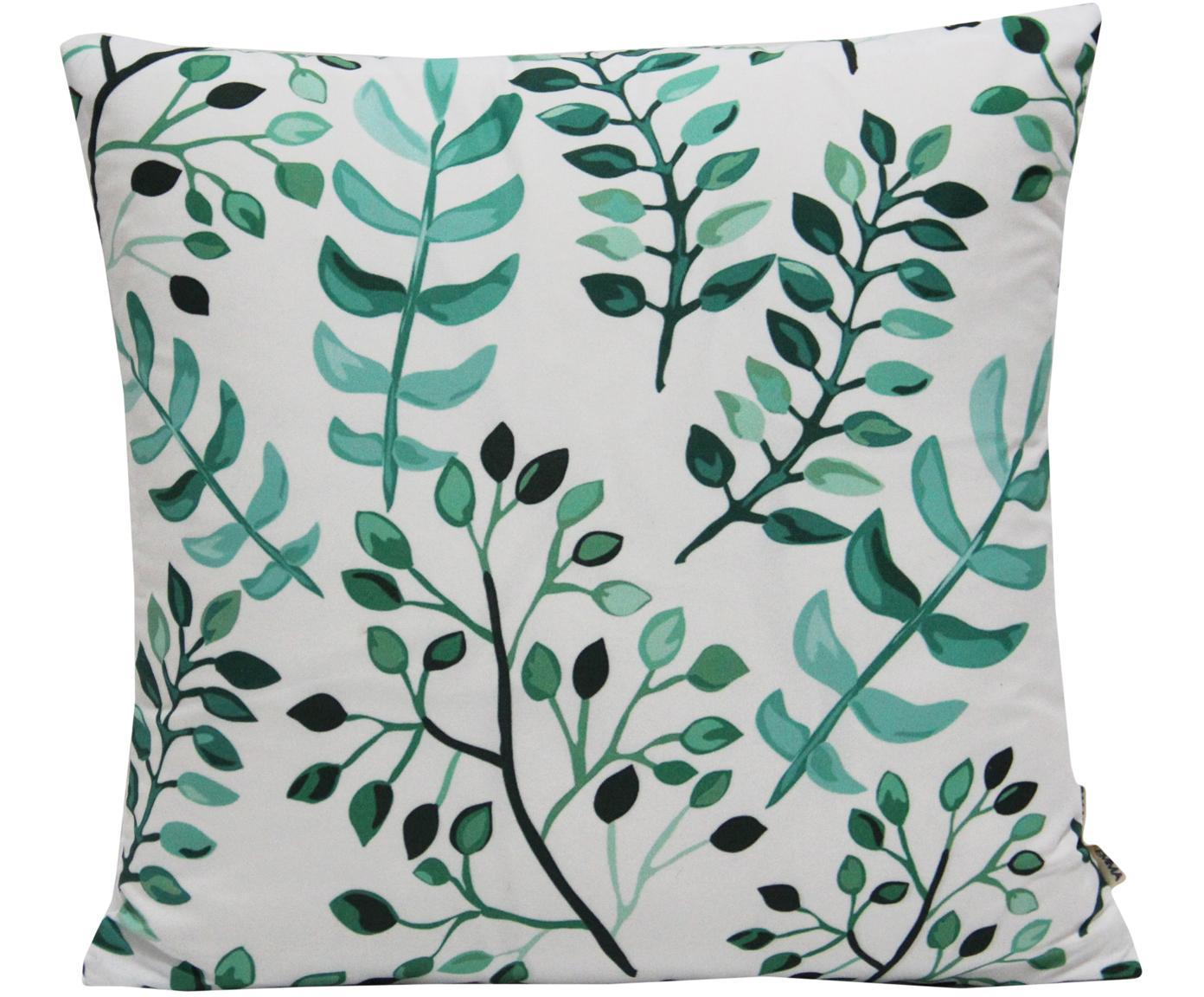 Kissenhülle Leaves mit Blattmuster, 100% Polyester, Weiss, Grüntöne, 40 x 40 cm