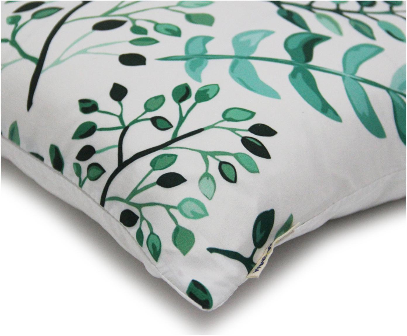 Kussenhoes Leaves met bladpatroon, Polyester, Wit, groentinten, 40 x 40 cm