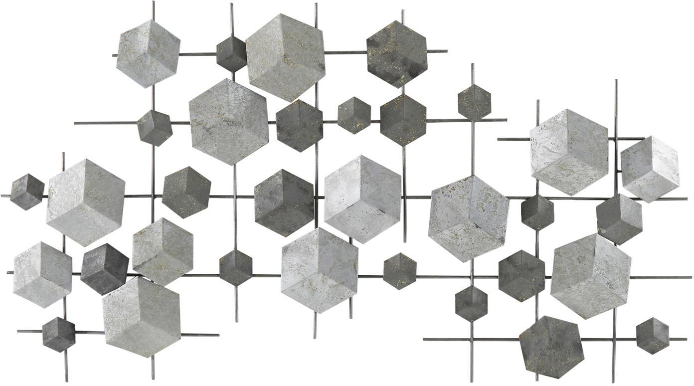 Dekoracja ścienna z metalu lakierowanego Eos, Metal lakierowany, Szary, S 92 x W 50 cm