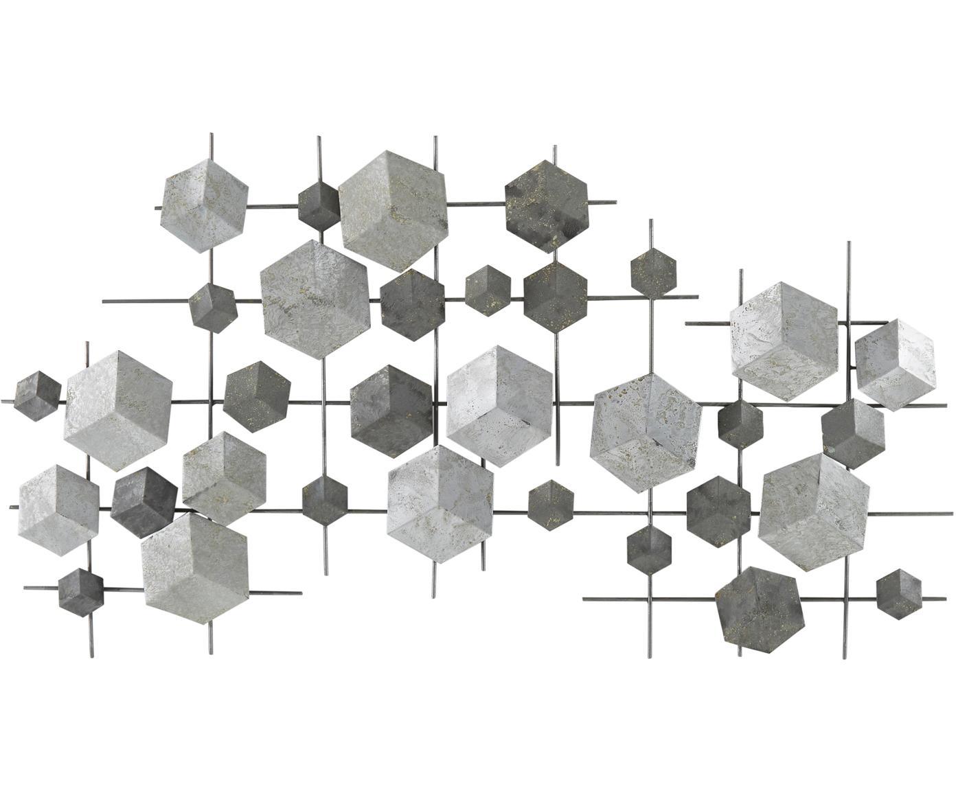 Wandobject Eos van gelakt metaal, Gelakt metaal, Grijs, 92 x 50 cm