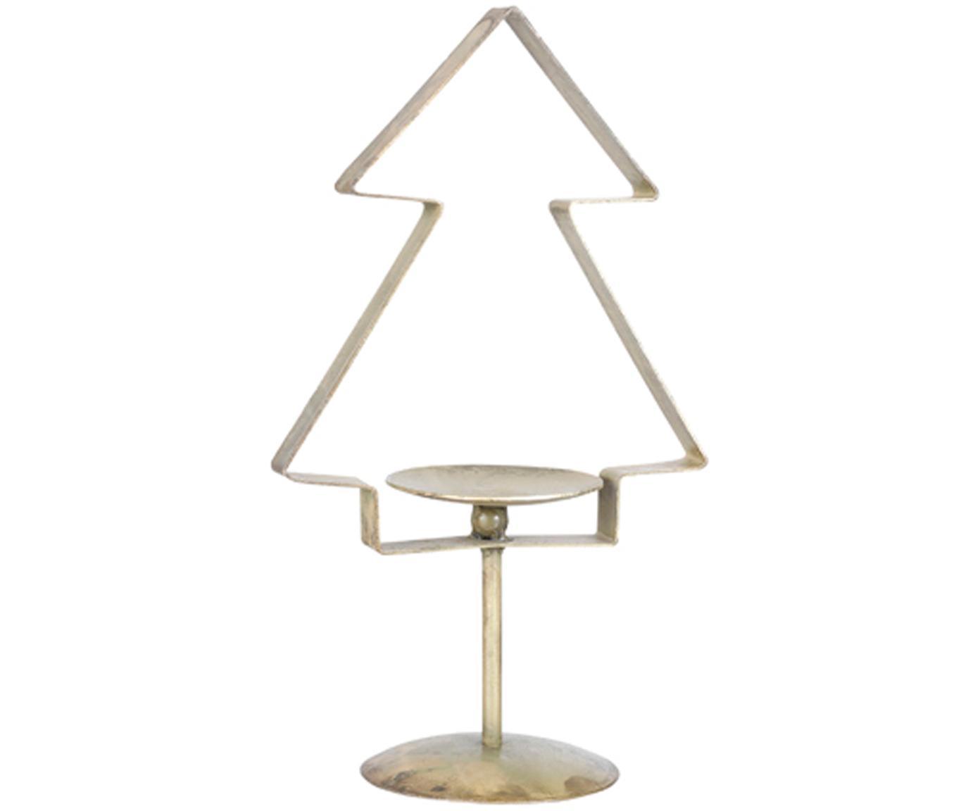 Portacandela natalizio a forma di pino Tree, Metallo rivestito, Ottonato, Larg. 18 x Alt. 31 cm