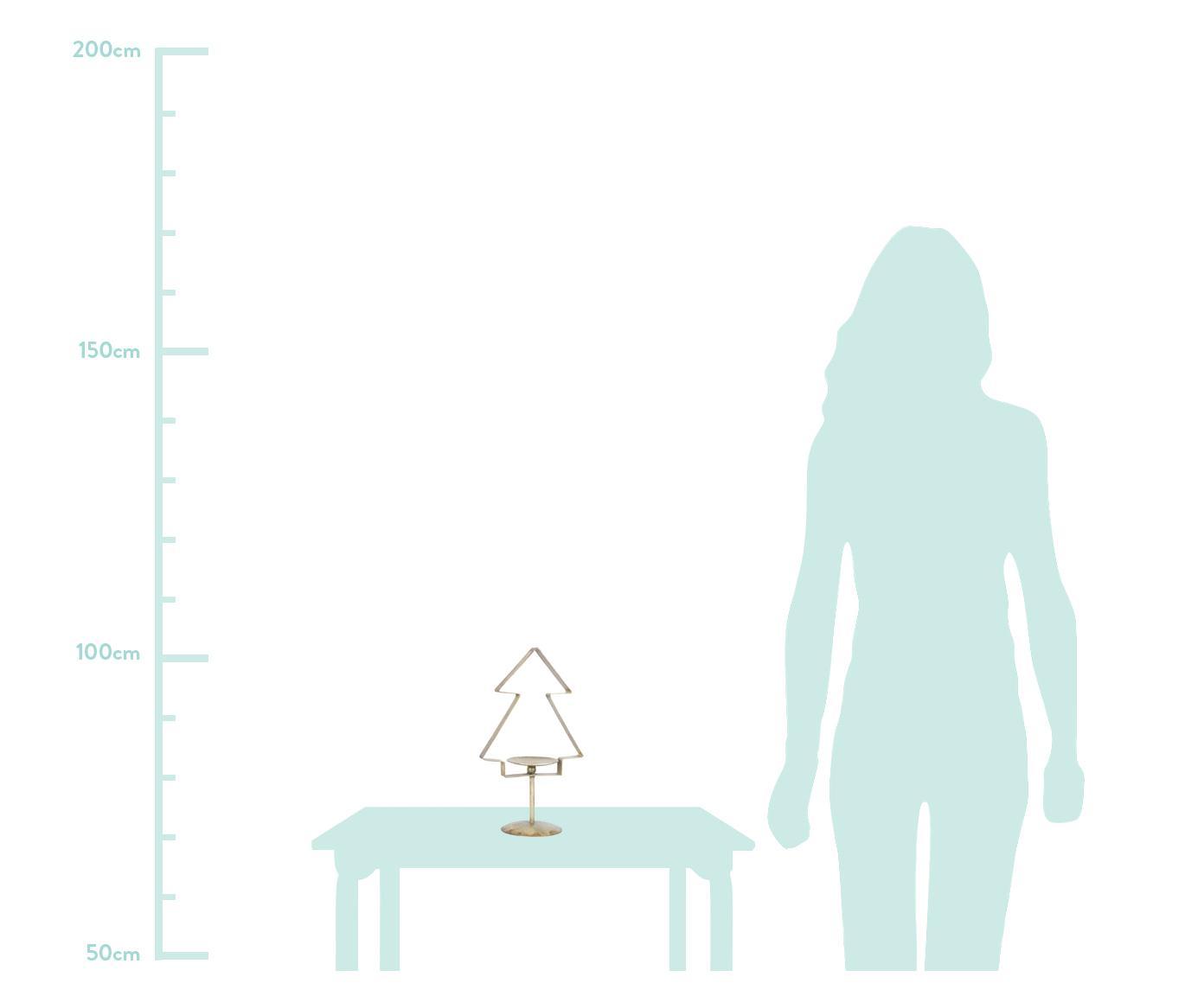 Świecznik Tree, Metal powlekany, Odcienie mosiądzu, S 18 x W 31 cm