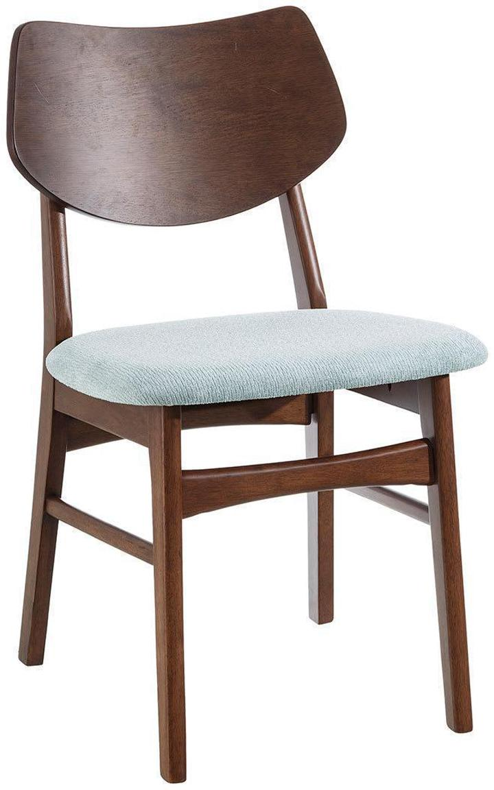 Silla tapizada Agun, Estructura: madera de caucho, Tapizado: 100%poliéster, Aguamarina, An 47 x Al 78 cm