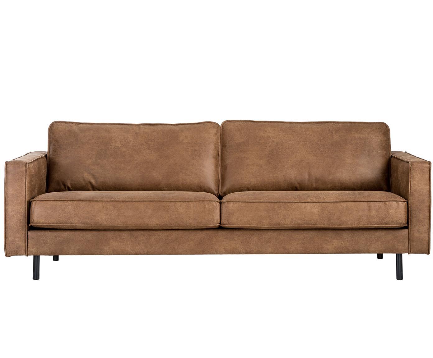 Leder-Sofa Hunter (3-Sitzer), Bezug: 70% recyceltes Leder, 30%, Gestell: Massives Birkenholz und h, Füße: Metall, pulverbeschichtet, Leder Braun, B 219 x T 90 cm
