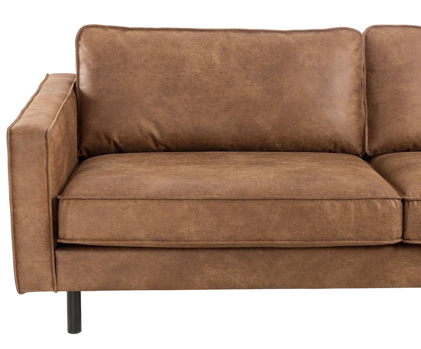 Leder-Sofa Hunter (3-Sitzer), Bezug: 70% recyceltes Leder, 30%, Gestell: Massives Birkenholz und h, Leder Braun, B 219 x T 90 cm