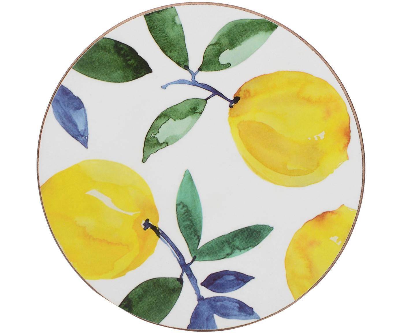 Posavasos Lemons, 4uds., Corcho, Blanco, amarillo, verde, Ø 12 cm