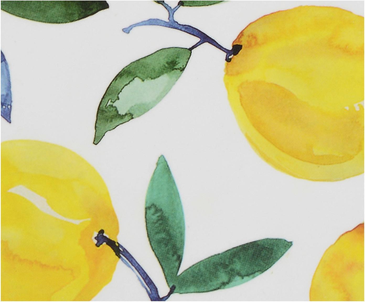 Podstawka Lemons, 4 szt., Korek, Biały, żółty, zielony, Ø 12 cm