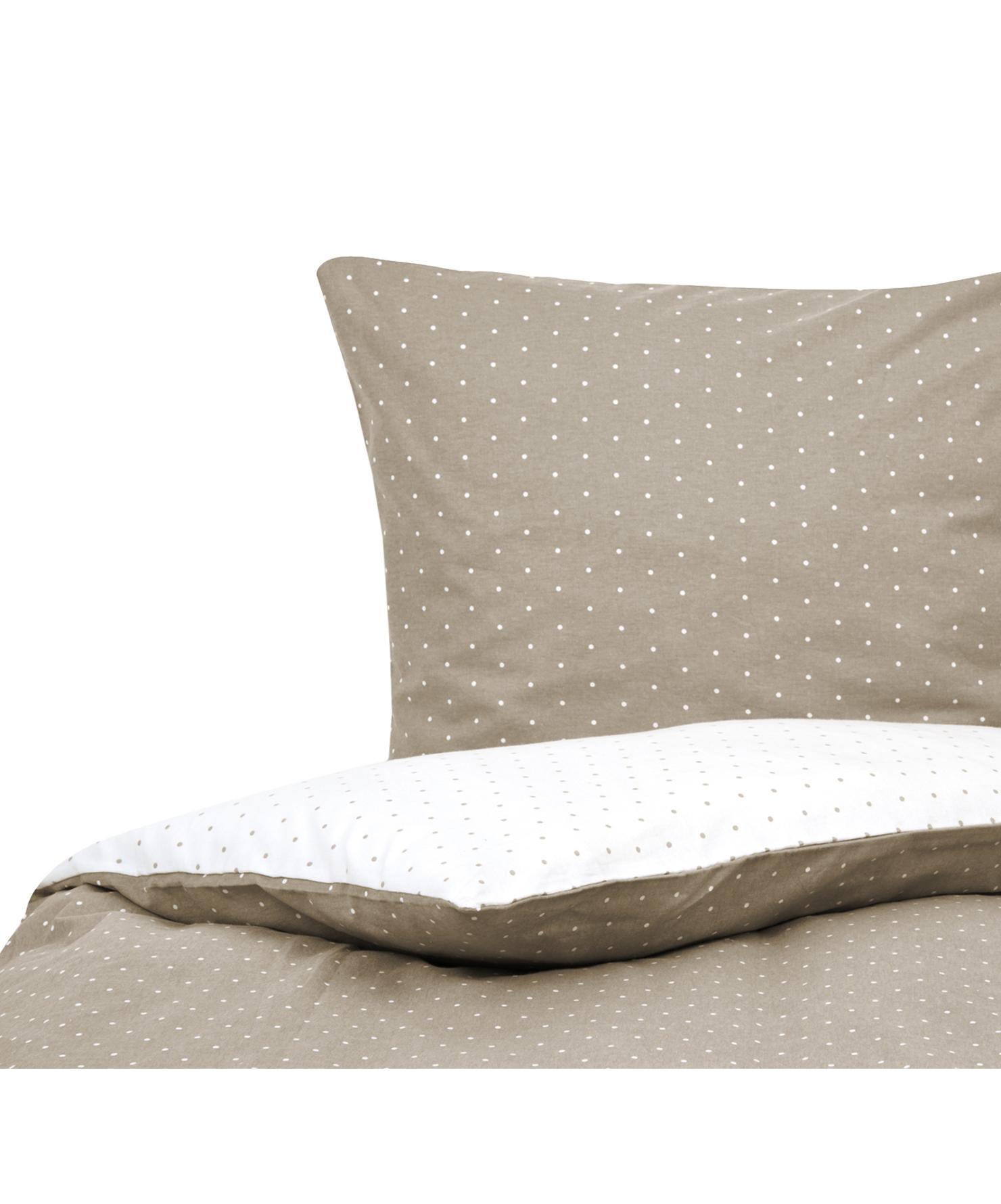 Flanell-Wendebettwäsche Betty, gepunktet, Webart: Flanell Flanell ist ein s, Beige, Weiß, 135 x 200 cm + 1 Kissen 80 x 80 cm