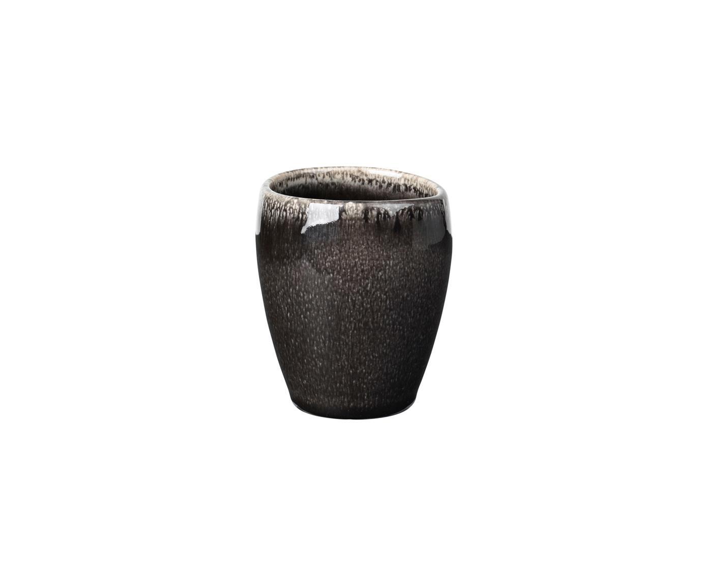 Handgemachte Espressobecher Nordic Coal aus Steingut, 6 Stück, Steingut, Bräunlich, Ø 7 x H 8 cm