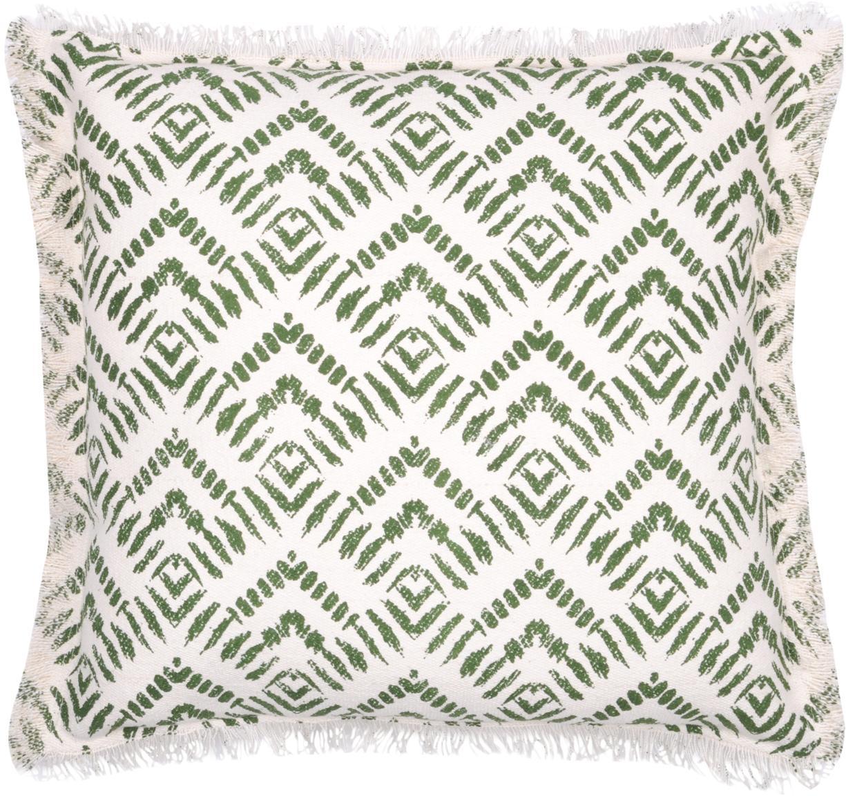 Gemustertes Kissen Sudda, mit Inlett, 100% Baumwolle, Gebrochenes Weiß, Grün, 45 x 45 cm