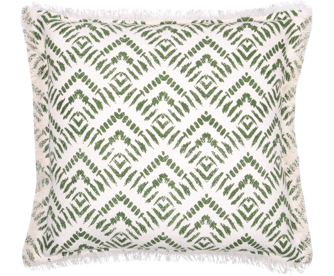 Kussen met patroon Sudda, met vulling, Katoen, Gebroken wit, groen, 45 x 45 cm