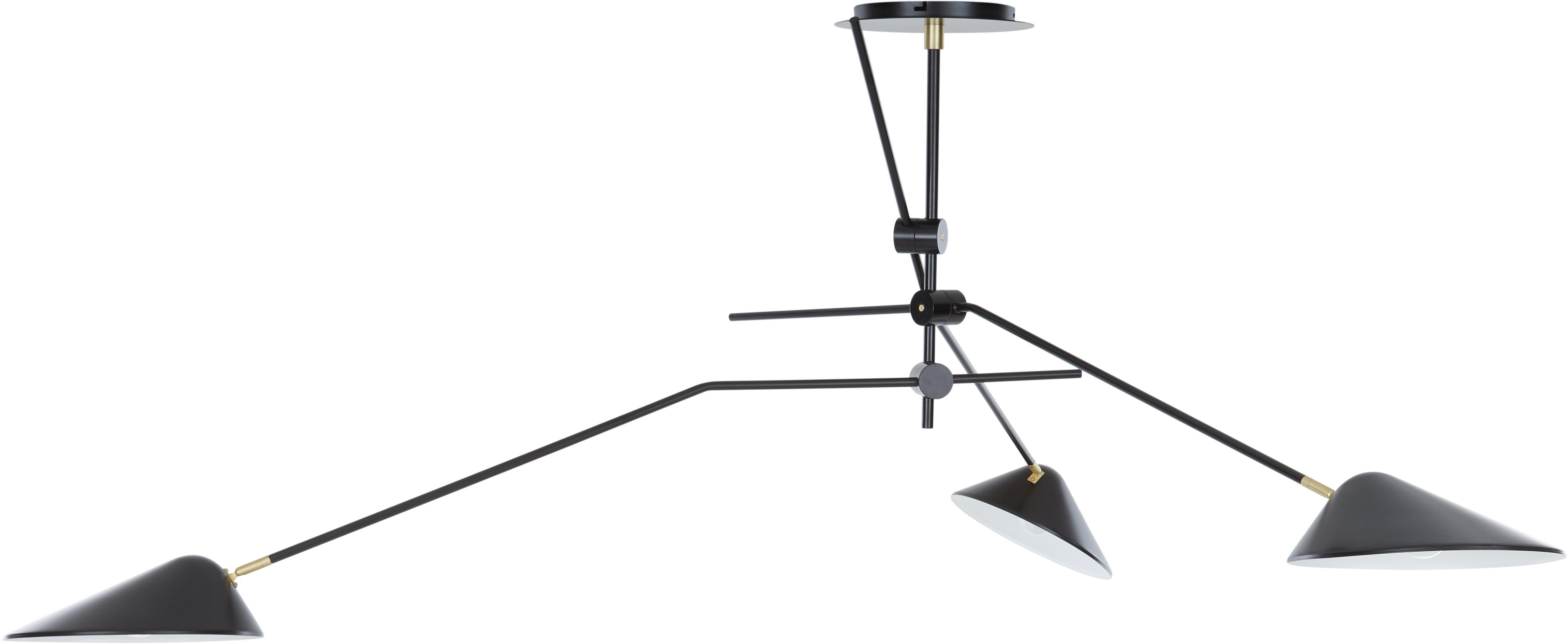 Lampada a sospensione Neron, Paralume: metallo verniciato a polv, Baldacchino: metallo verniciato a polv, Nero, Larg. 173 x Alt. 52 cm