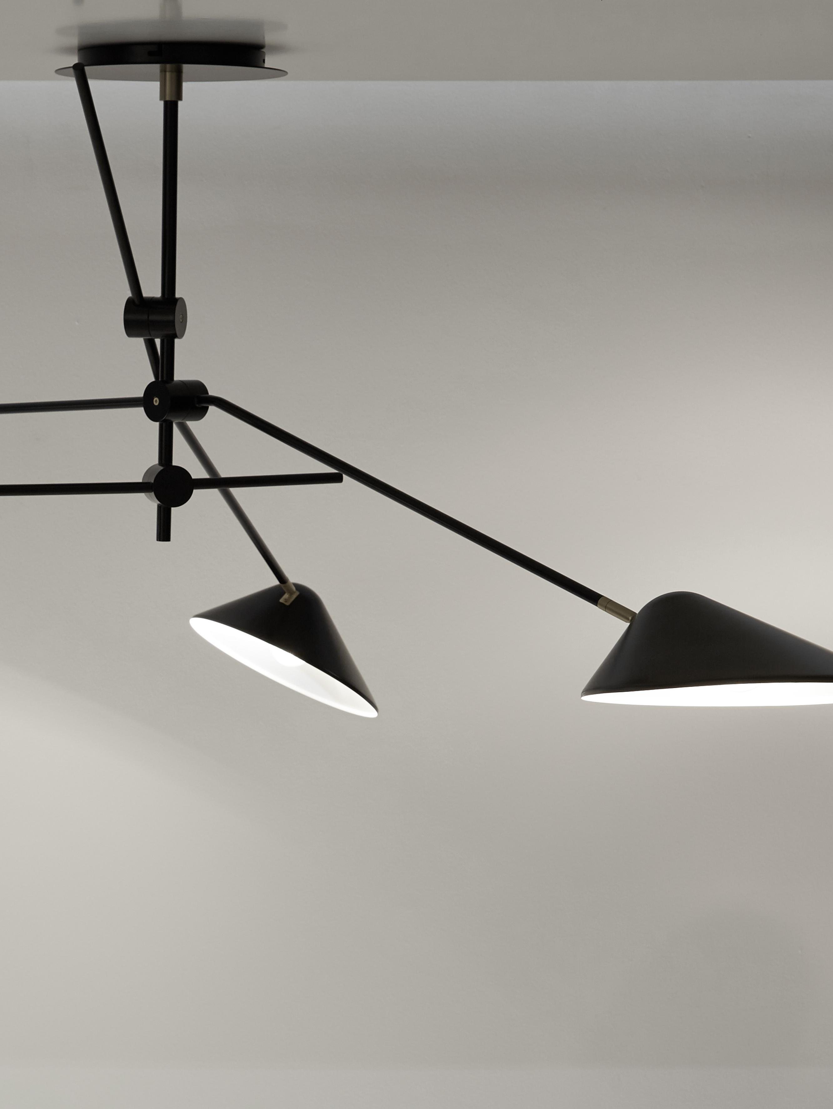 Lámpara de techo grande Neron, Anclaje: metal con pintura en polv, Negro, An 173 x Al 52 cm