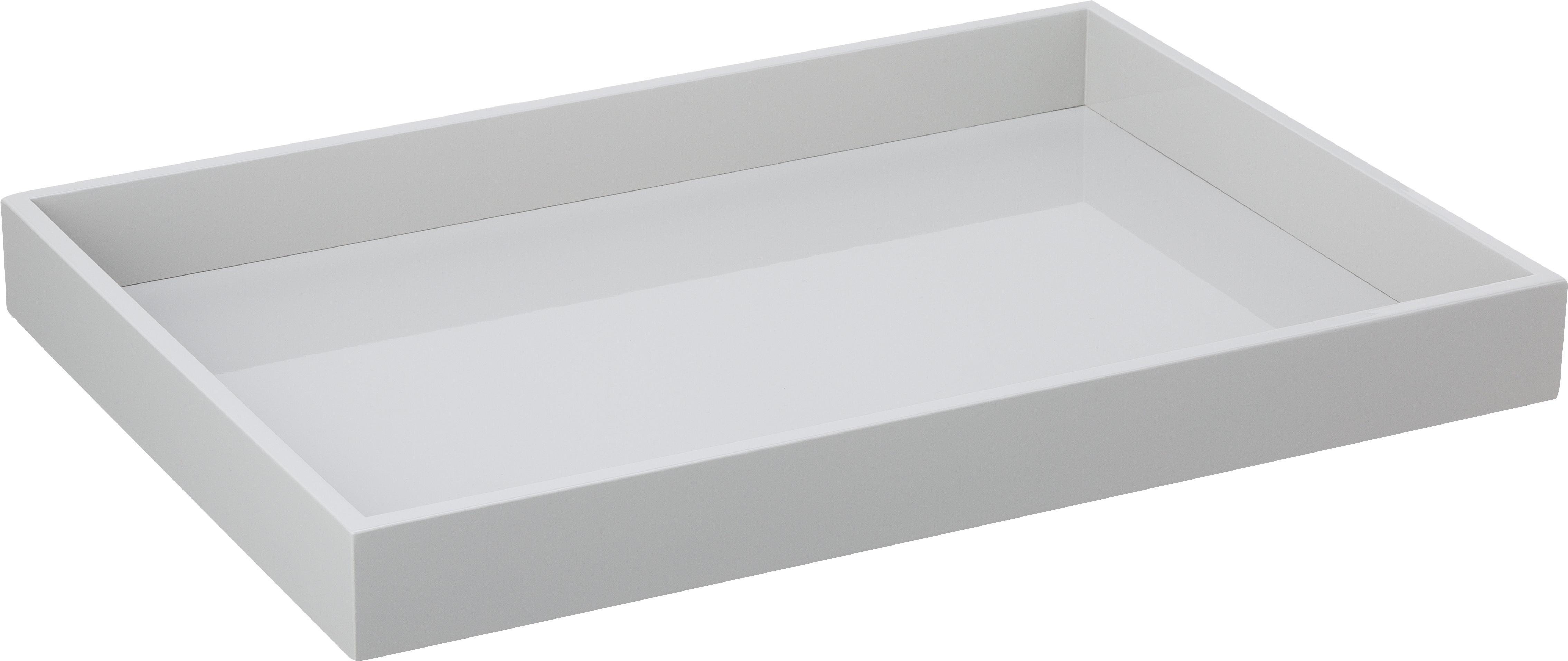 Dienblad Hayley, Dienblad: gelakt MDF, Onderzijde: fluweel, Lichtgrijs. Onderzijde: lichtgrijs, B 50 x D 35 cm