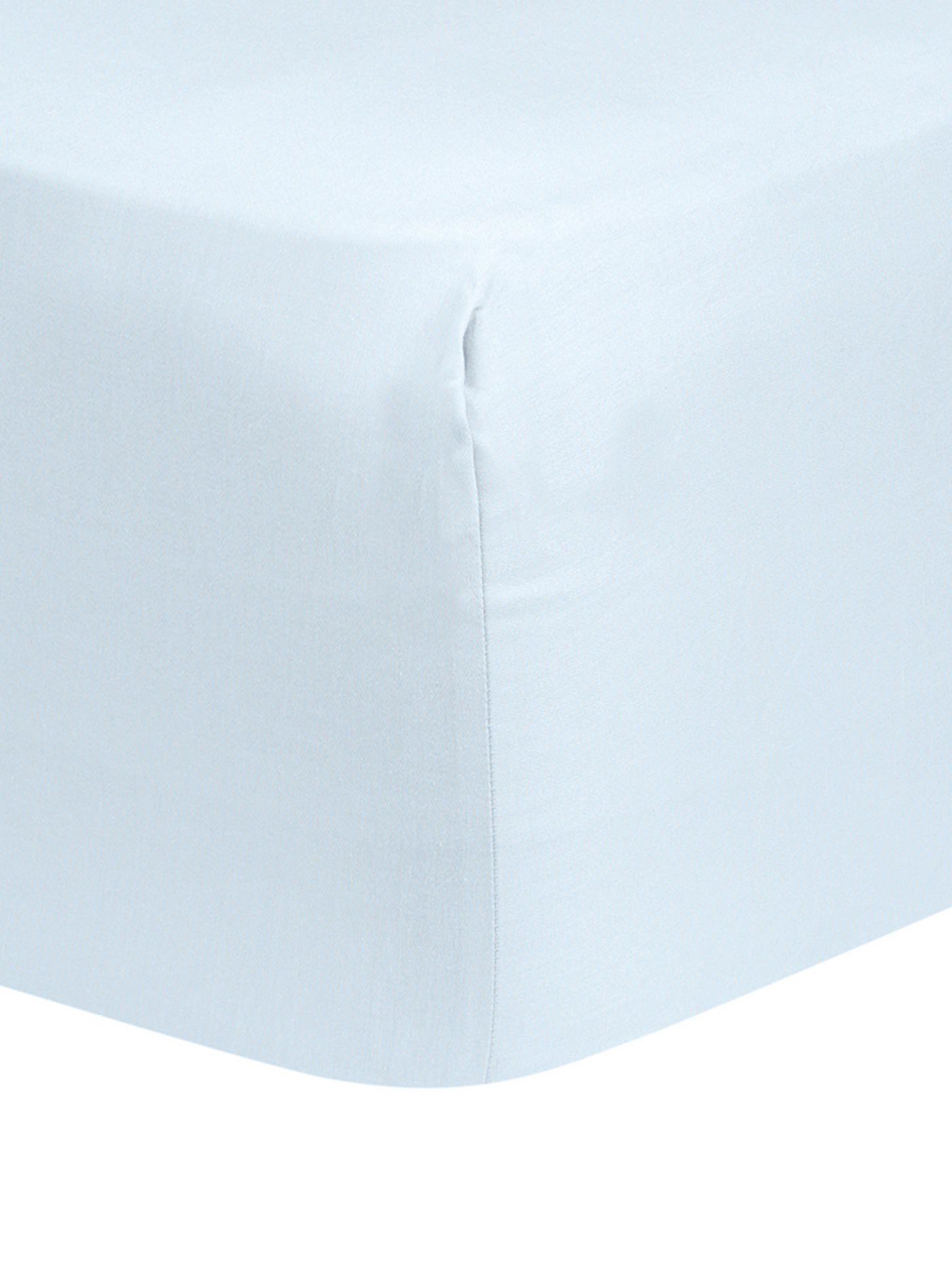 Spannbettlaken Comfort, Baumwollsatin, Webart: Satin, leicht glänzend, Hellblau, 140 x 200 cm