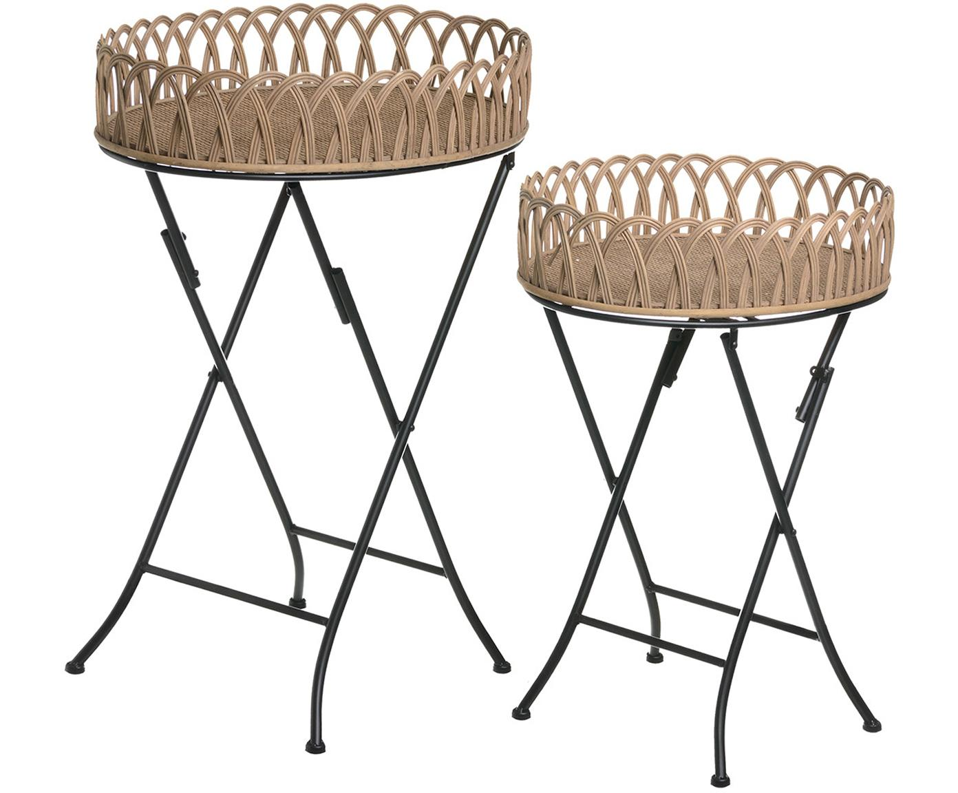 Set de mesas auxiliares Clappy, 2uds., Tablero: ratán, Patas: metal, Multicolor, Tamaños diferentes