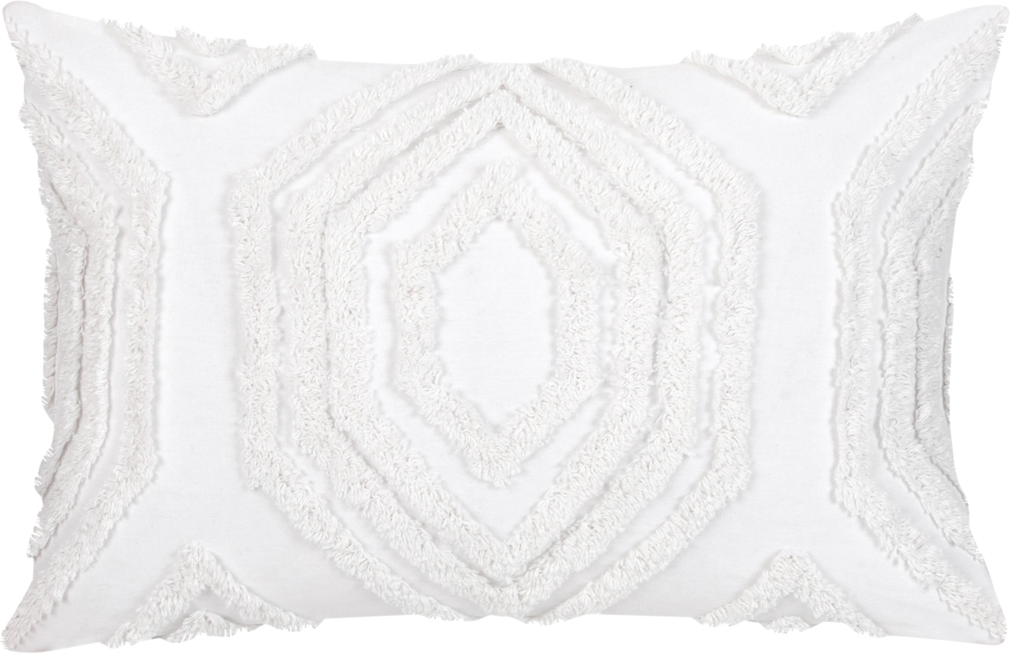 Kissenhülle Faye mit getuftetem Muster, Webart: Panama, Weiß, 40 x 60 cm