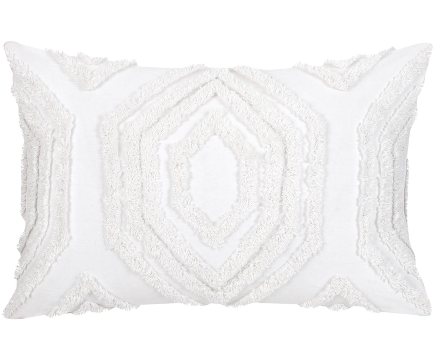 Kussenhoes Faye met getuft patroon, Weeftechniek: panama, Wit, 40 x 60 cm