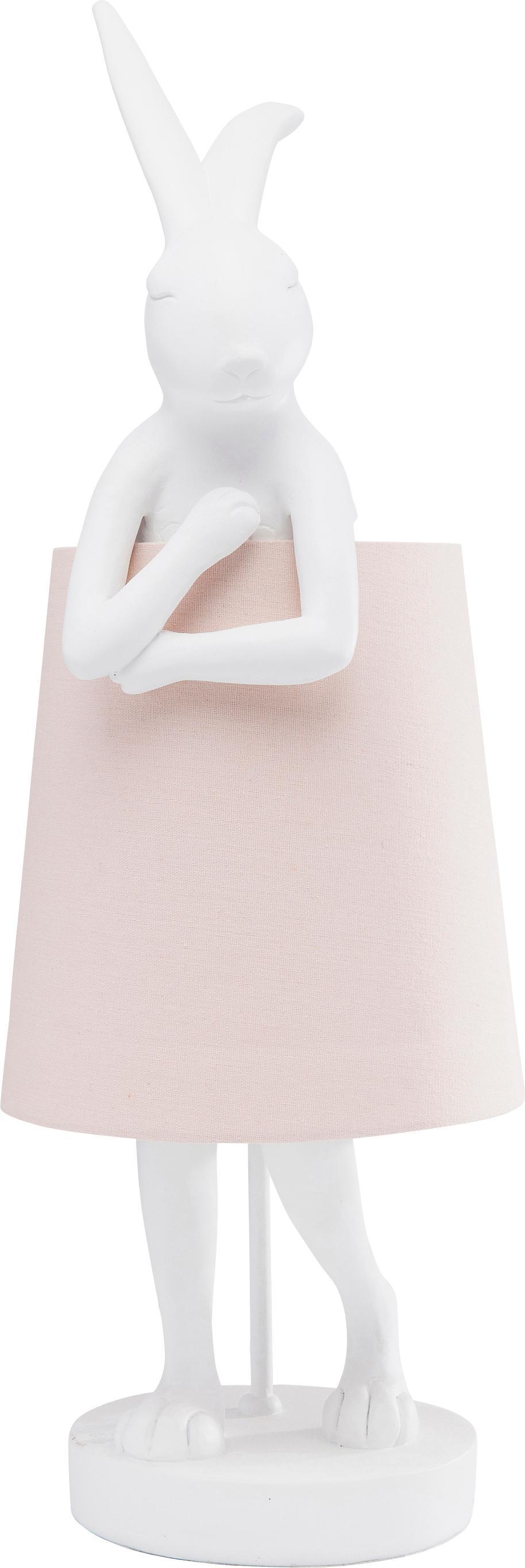 Große Design-Tischlampe Rabbit, Lampenschirm: Leinen, Lampenfuß: Polyresin, Stange: Stahl, pulverbeschichtet, Weiß, Rosa, Ø 23 x H 68 cm