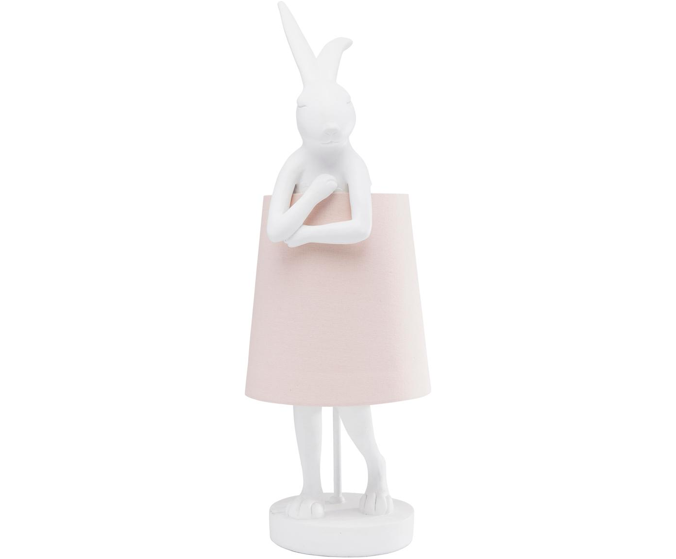 Grote Tafellamp Rabbit, Lampenkap: linnen, Frame: polyresin, Stang: gepoedercoat staal, Wit, roze, Ø 23 x H 68 cm