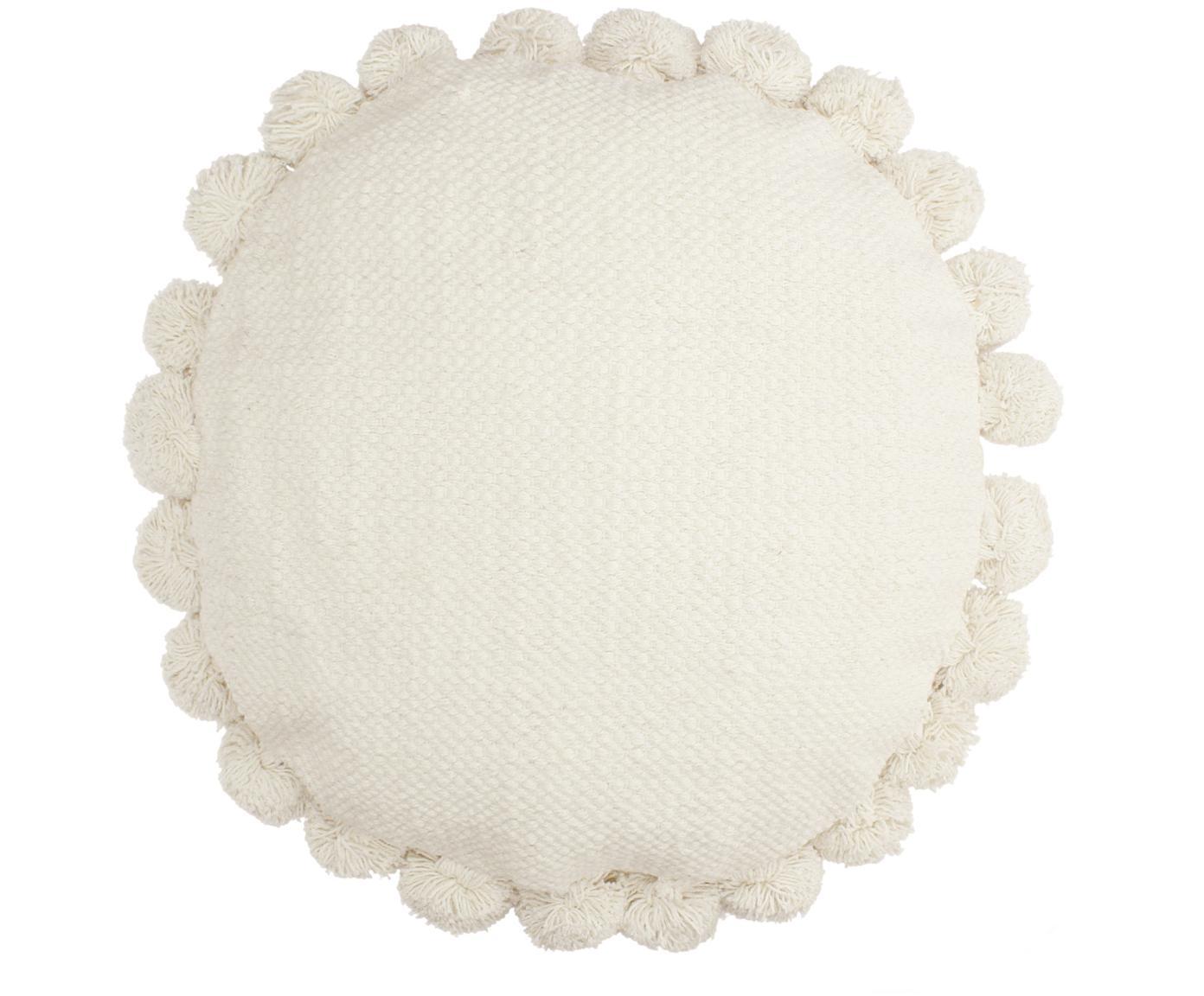Rundes Kissen Betta mit Pompoms, mit Inlett, Elfenbeinfarben, Ø 45 cm