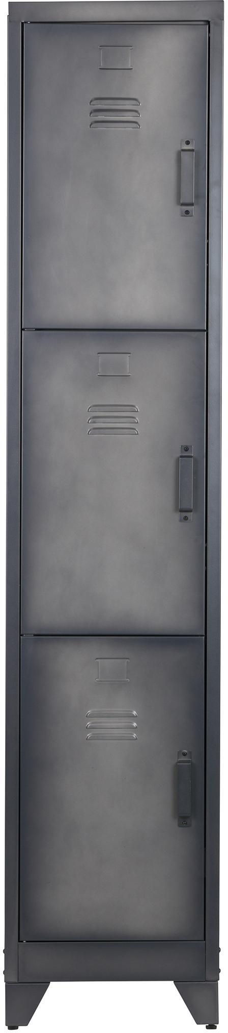 Wąska szafka z metalu z 3 półkami Cas, Metal powlekany, Ciemny szary, S 38 x W 180 cm