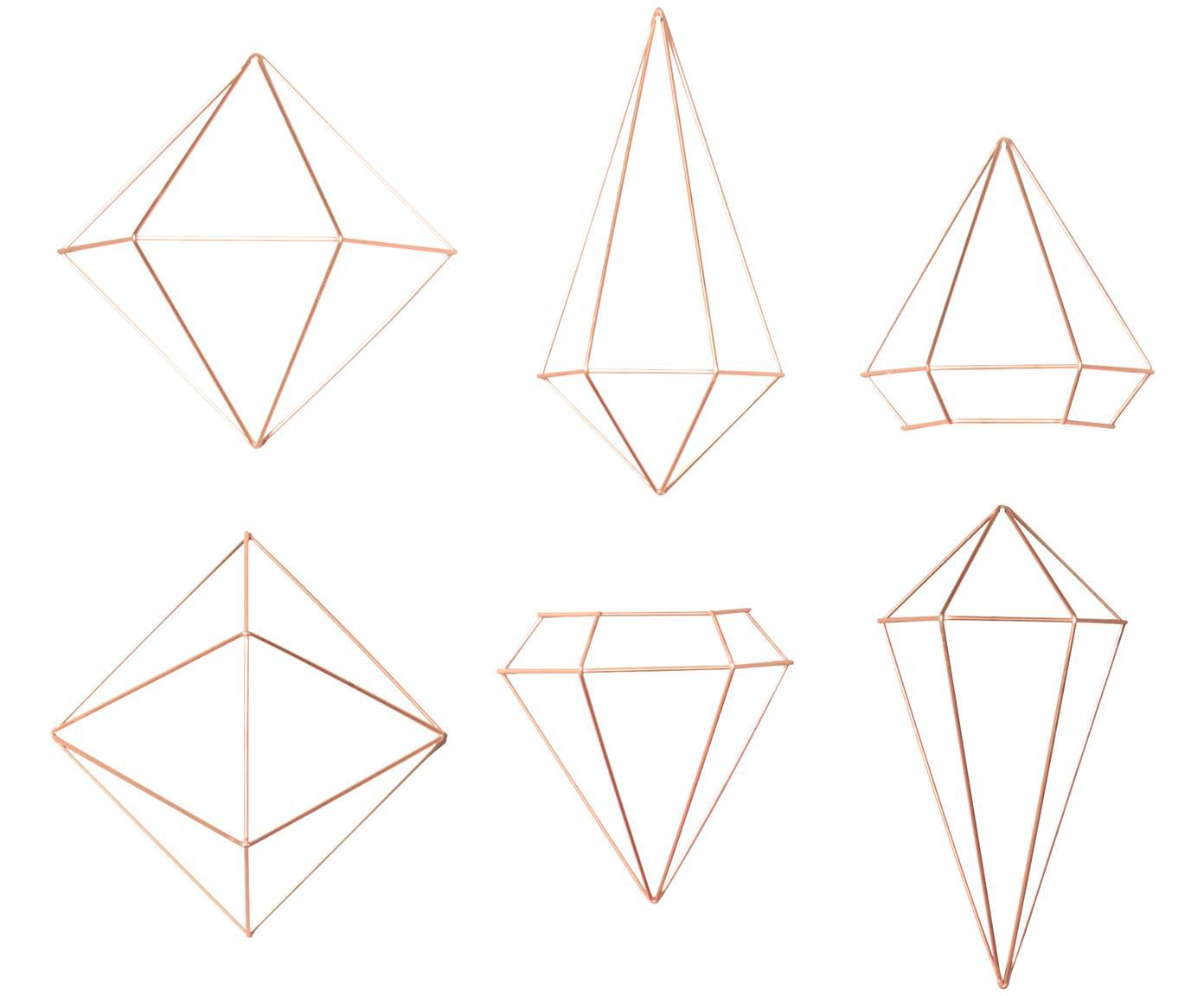 Komplet dekoracji ściennych z metalu lakierowanego Prisma, 6 elem., Metal lakierowany, Odcienie miedzi, Różne rozmiary