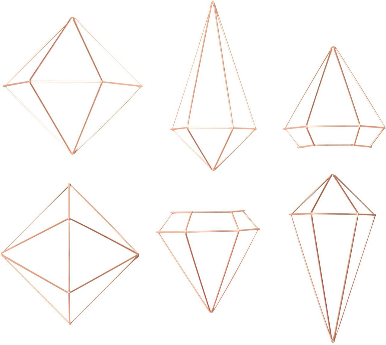 Wandobjectenset Prisma van gelakt metaal, 6-delig, Gelakt metaal, Koperkleurig, Set met verschillende formaten