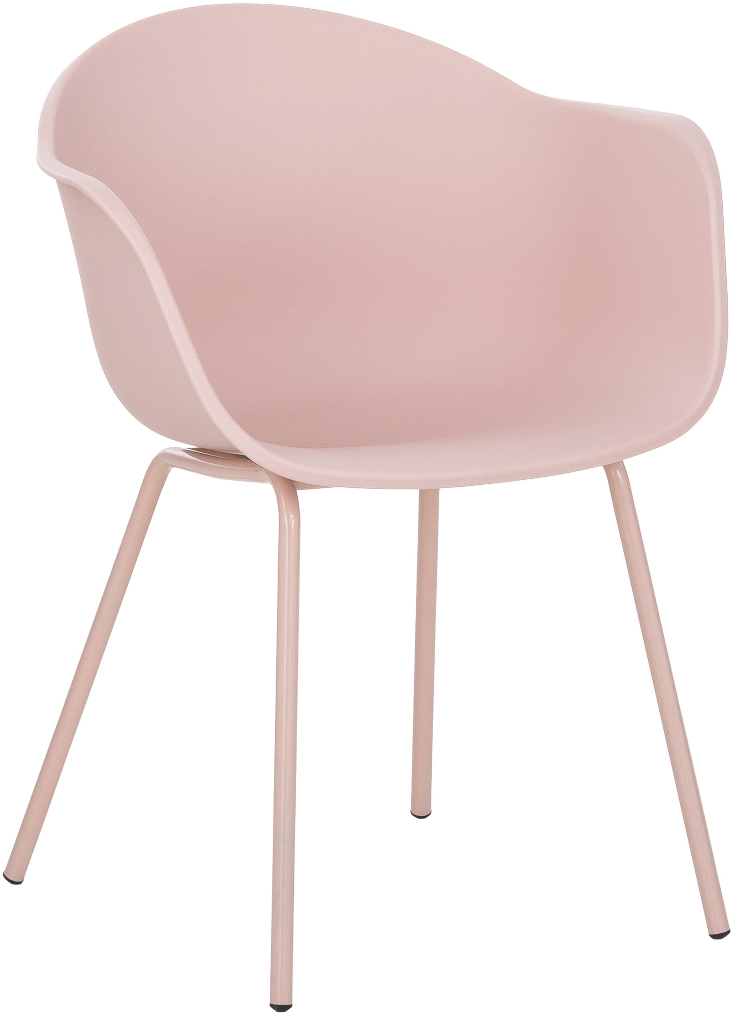 Sedia con braccioli in plastica con gambe in metallo Claire, Seduta: materiale sintetico, Gambe: metallo verniciato a polv, Rosa, Larg. 54 x Prof. 60 cm